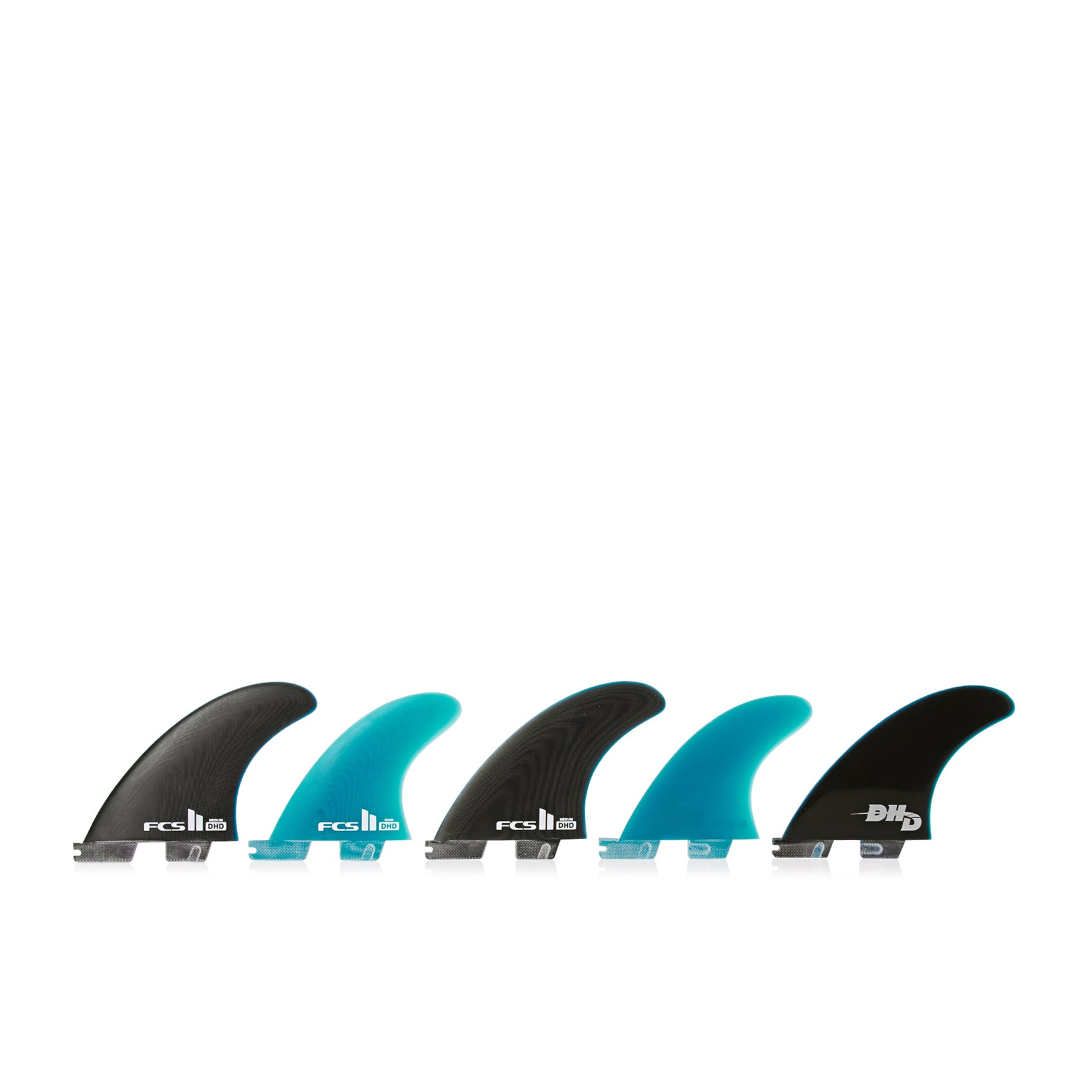 FCS II DH Performance Glass Set Of Five Fin - Black/blue