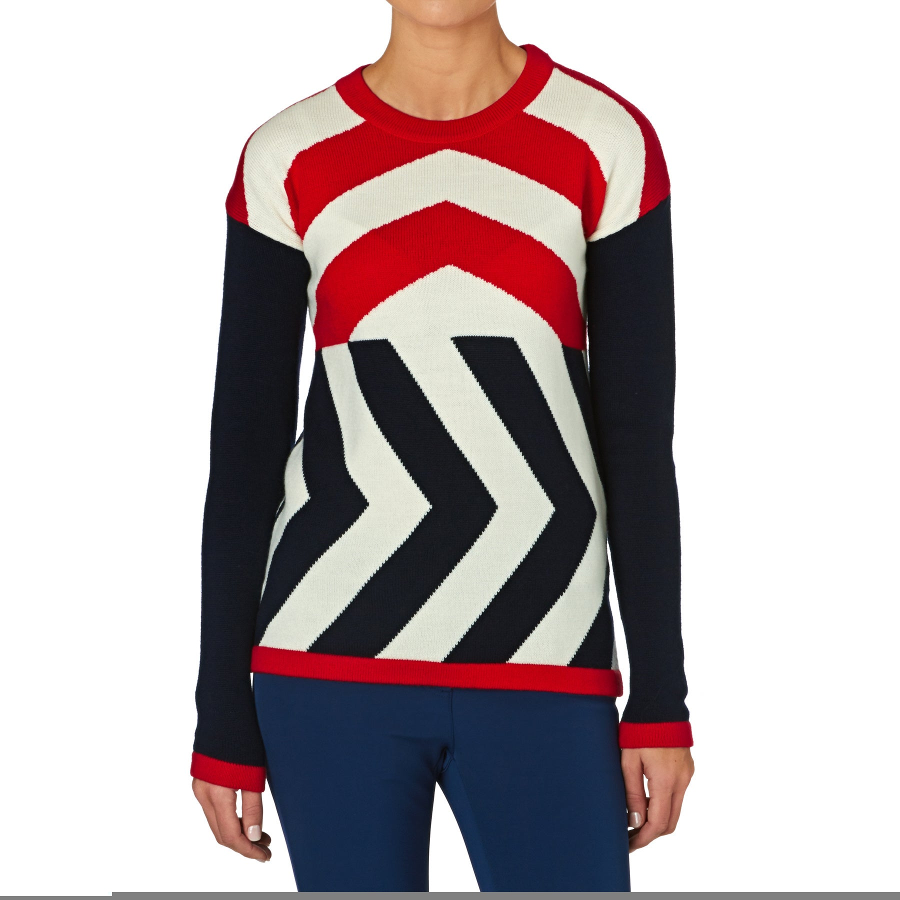 Perfect Moment Glacier Merino Wool Womens Sweater - Red/navy