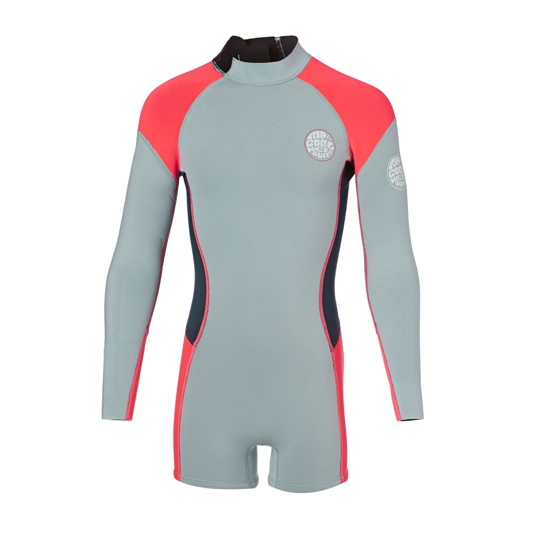 Rip Curl Junior G Bomb 1mm Front Zip Long Sleeve Shorty Girls Wetsuit - Light Blue