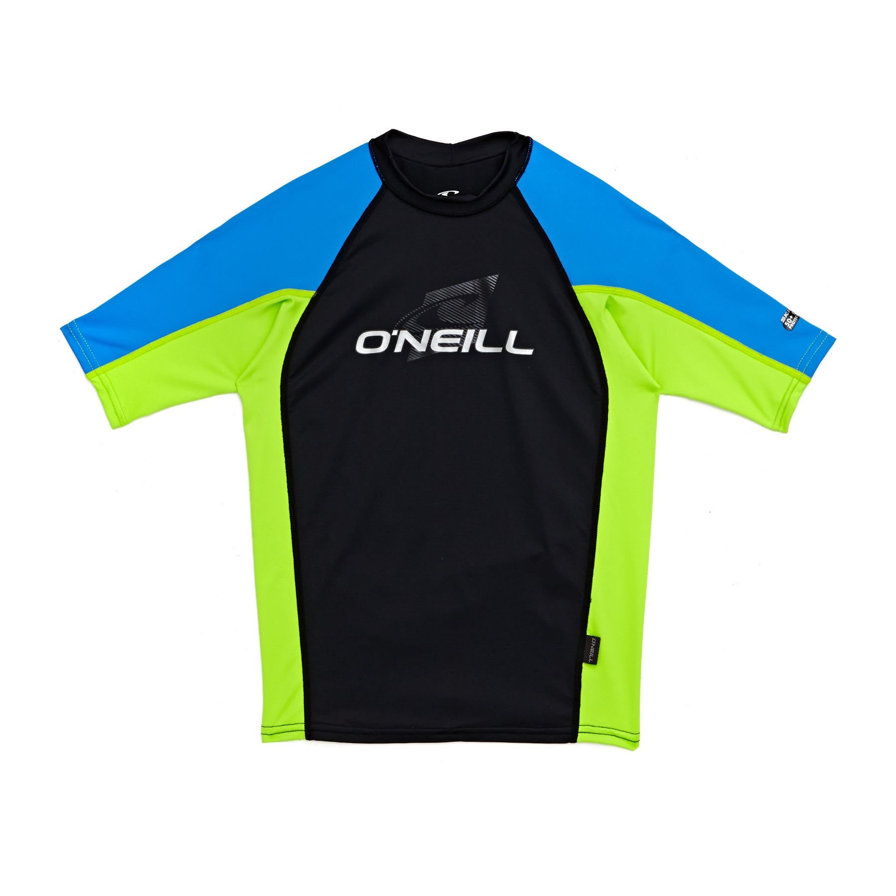 O Neill Skins Short Sleeve Crew Boys Rash Vest - Black/ Lime/ Bright Blue