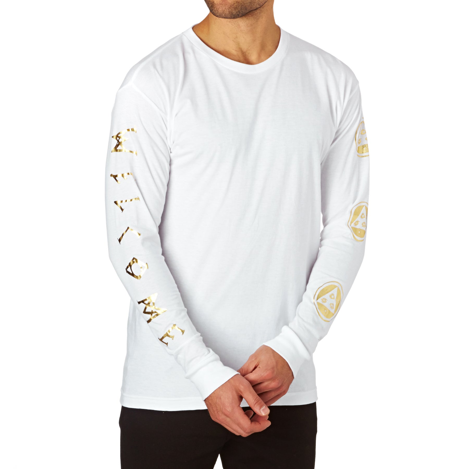 Welcome Binary Long Sleeve T-Shirt - White/Gold