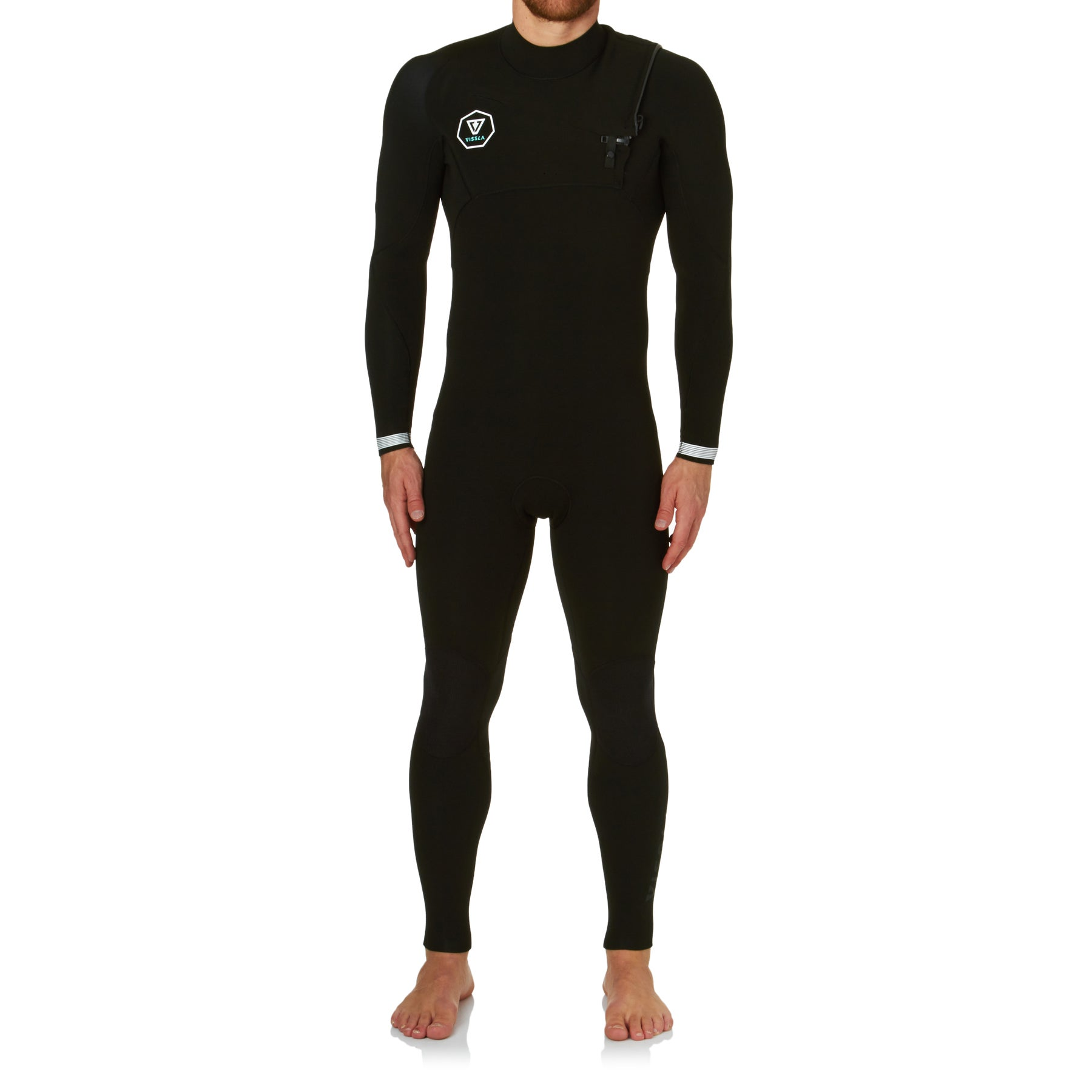 Vissla 3-2mm Seven Seas Chest Zip Wetsuit - Black With White