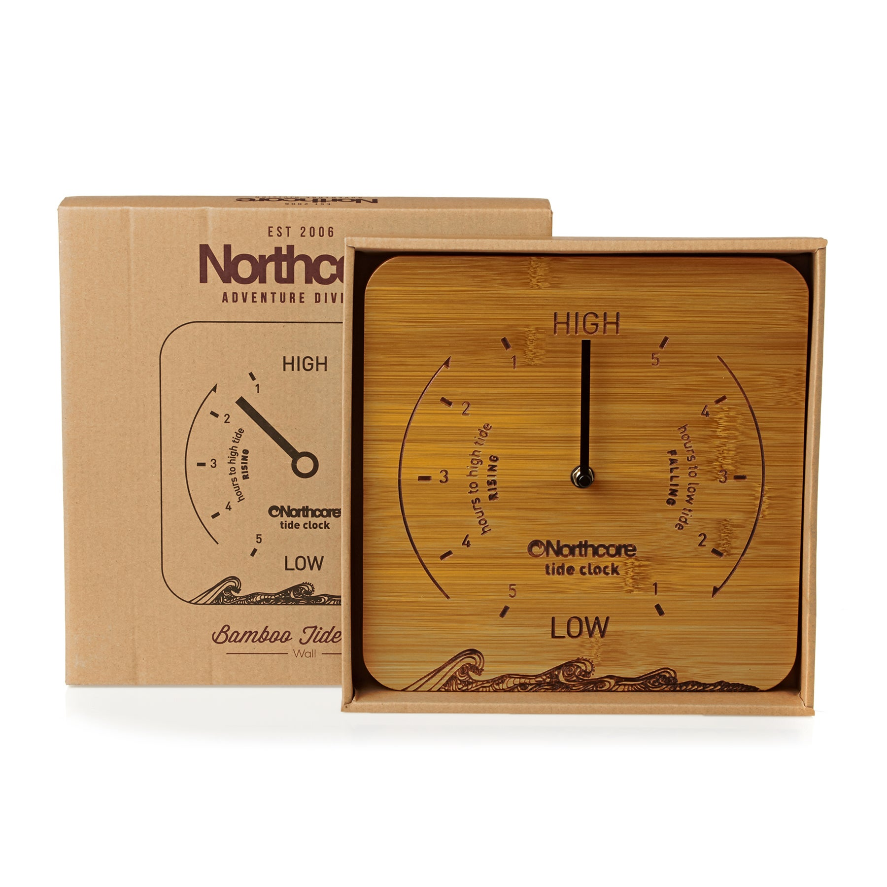 Northcore Adventure Wall Mounted Time And Tide Clock - Bamboo
