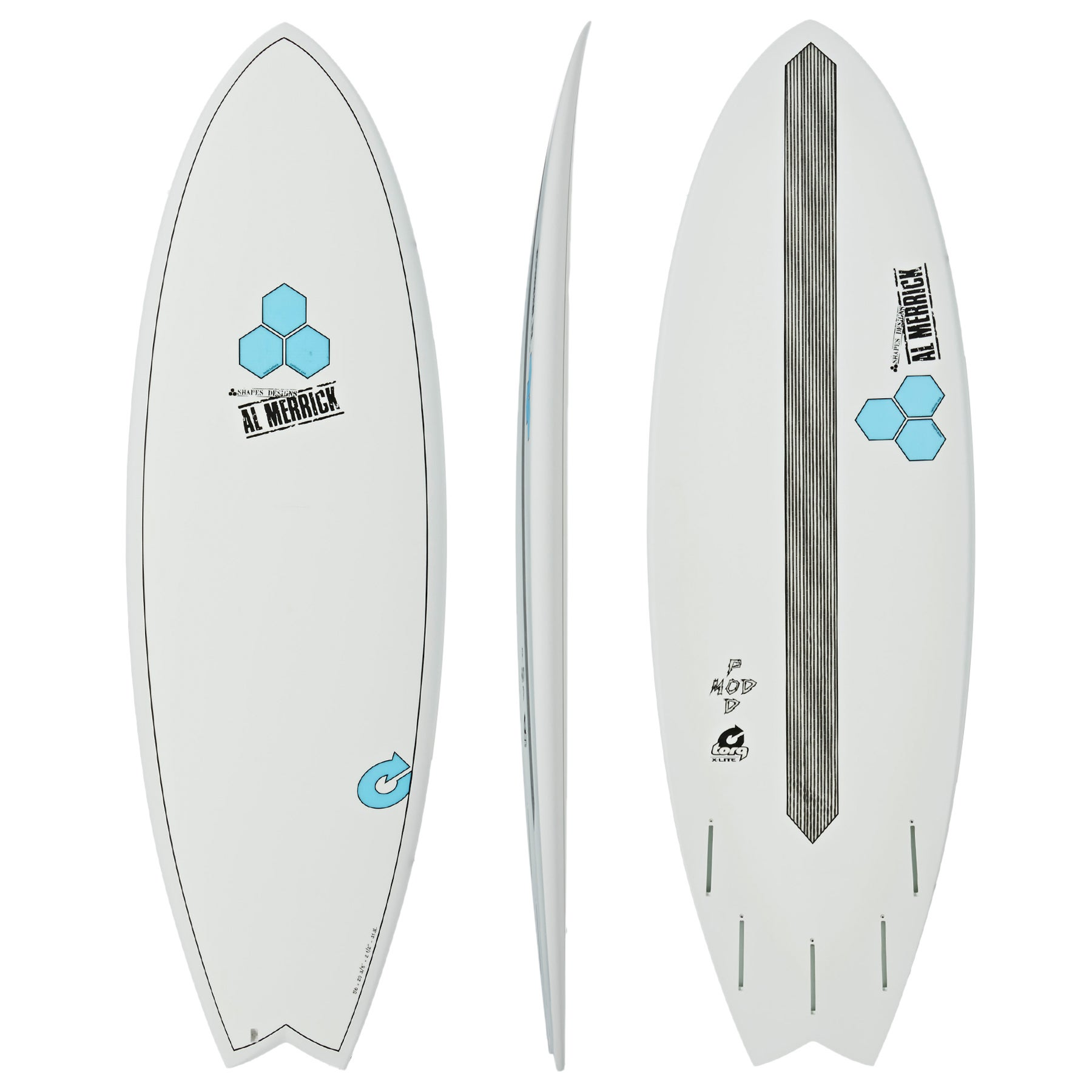 Torq Channel Islands XLite Pod Mod Surfboard - White  Pinline