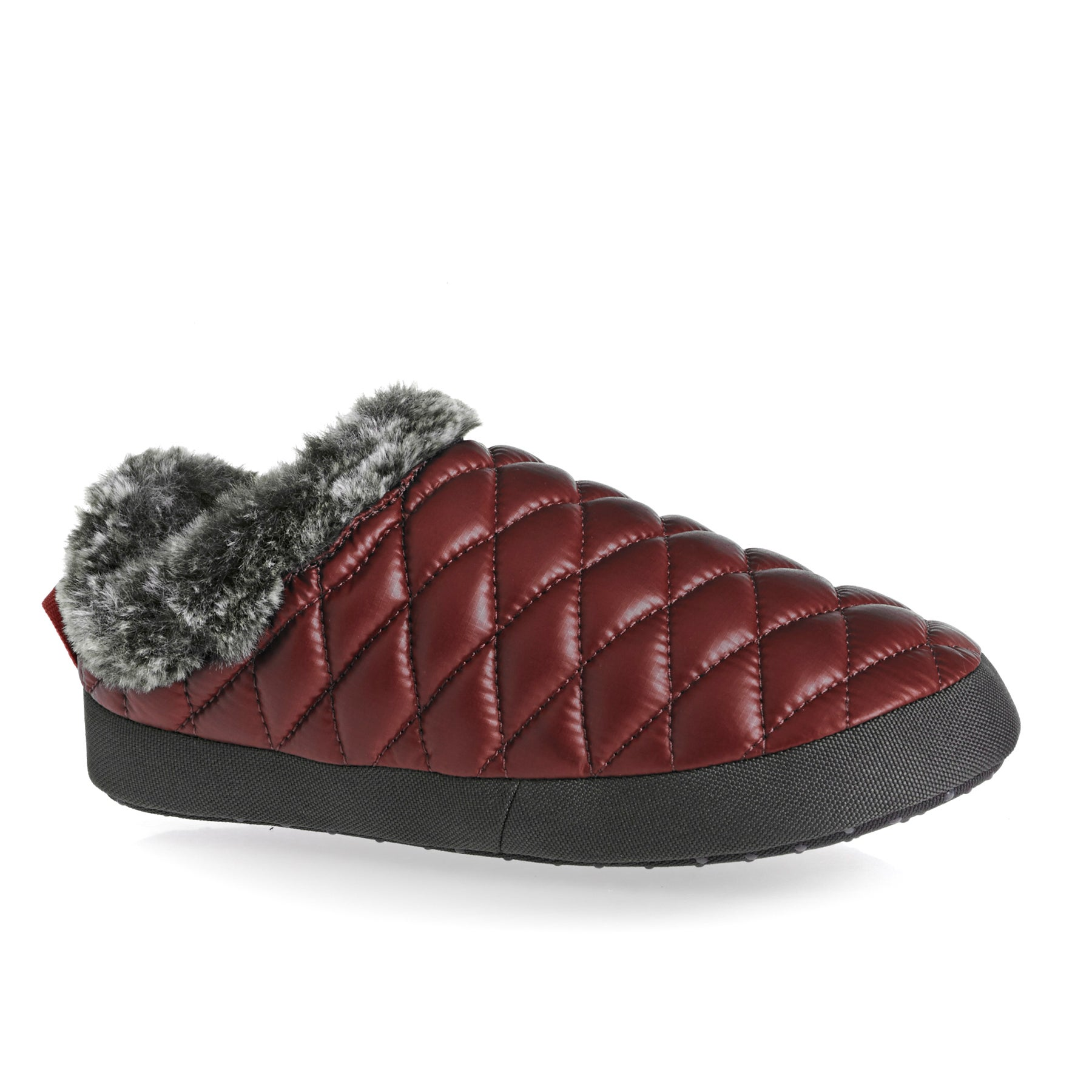 North Face Thermoball Tent Mule Faux Fur IV , Tofflor Dam - Shiny Barolo Red Iron Gate Grey