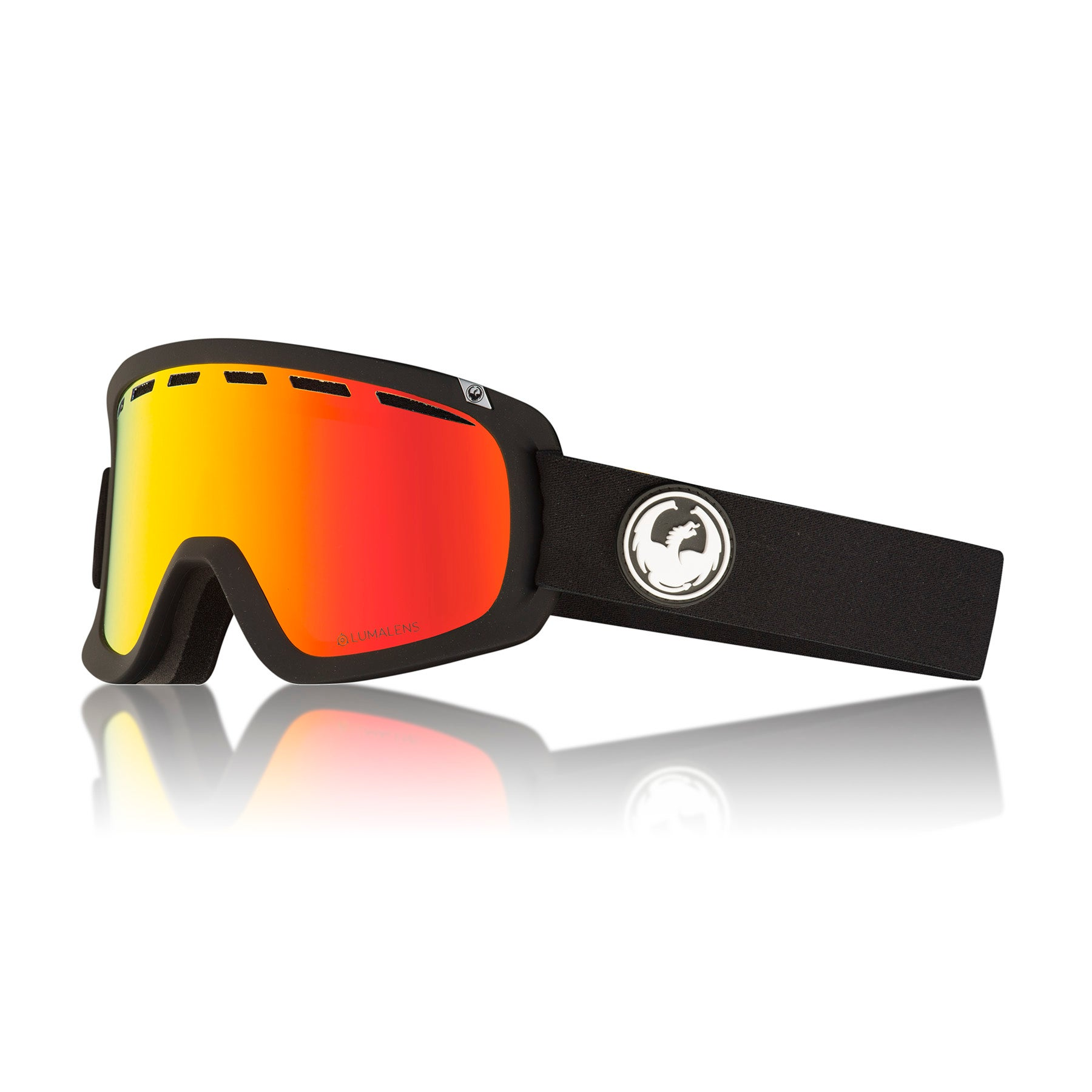 Dragon D1 OTG Snow Goggles - Black ~ LumaLens Red Ion
