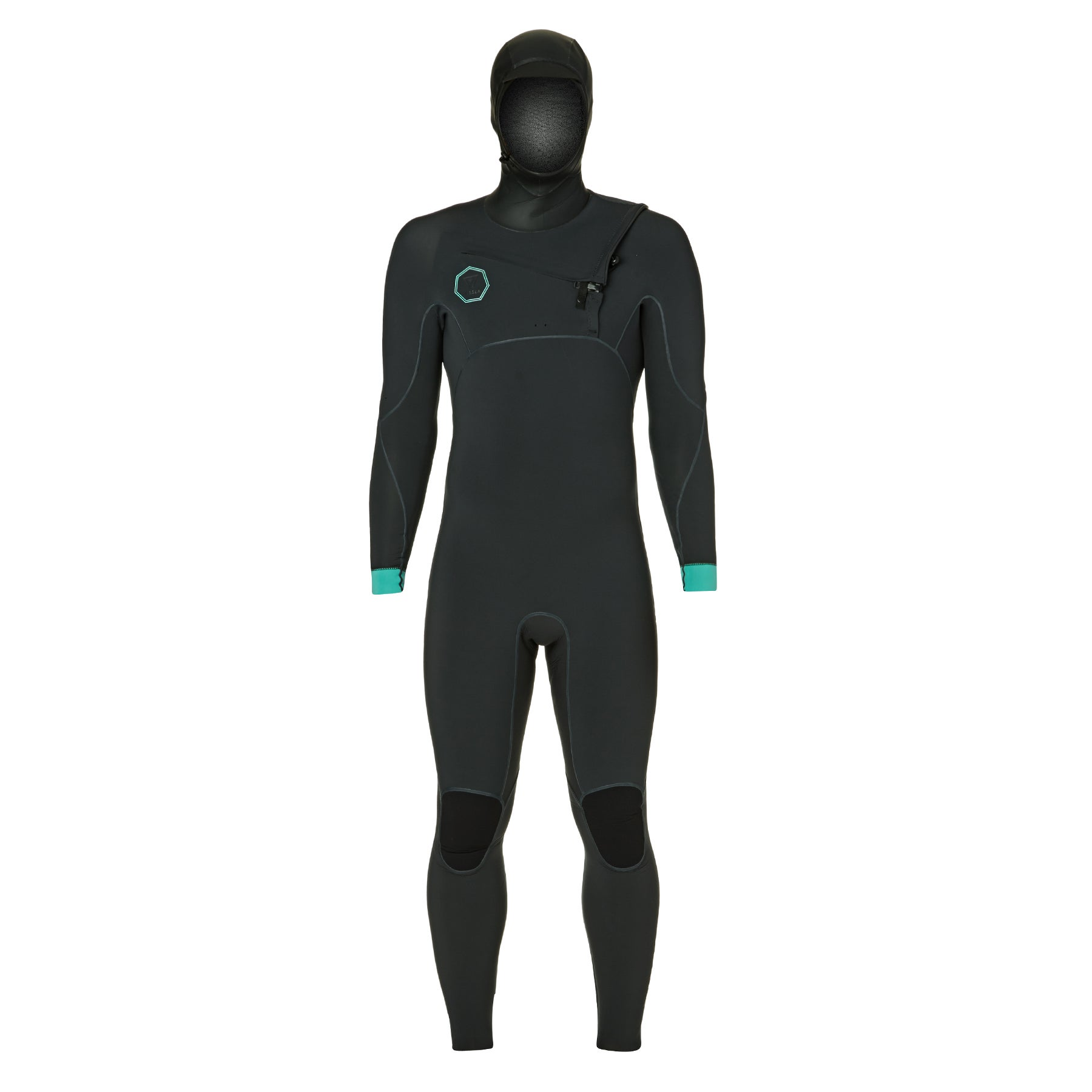 Vissla North Seas 5.5/4.5/3mm Chest Zip Hooded Wetsuit - Dark Grey