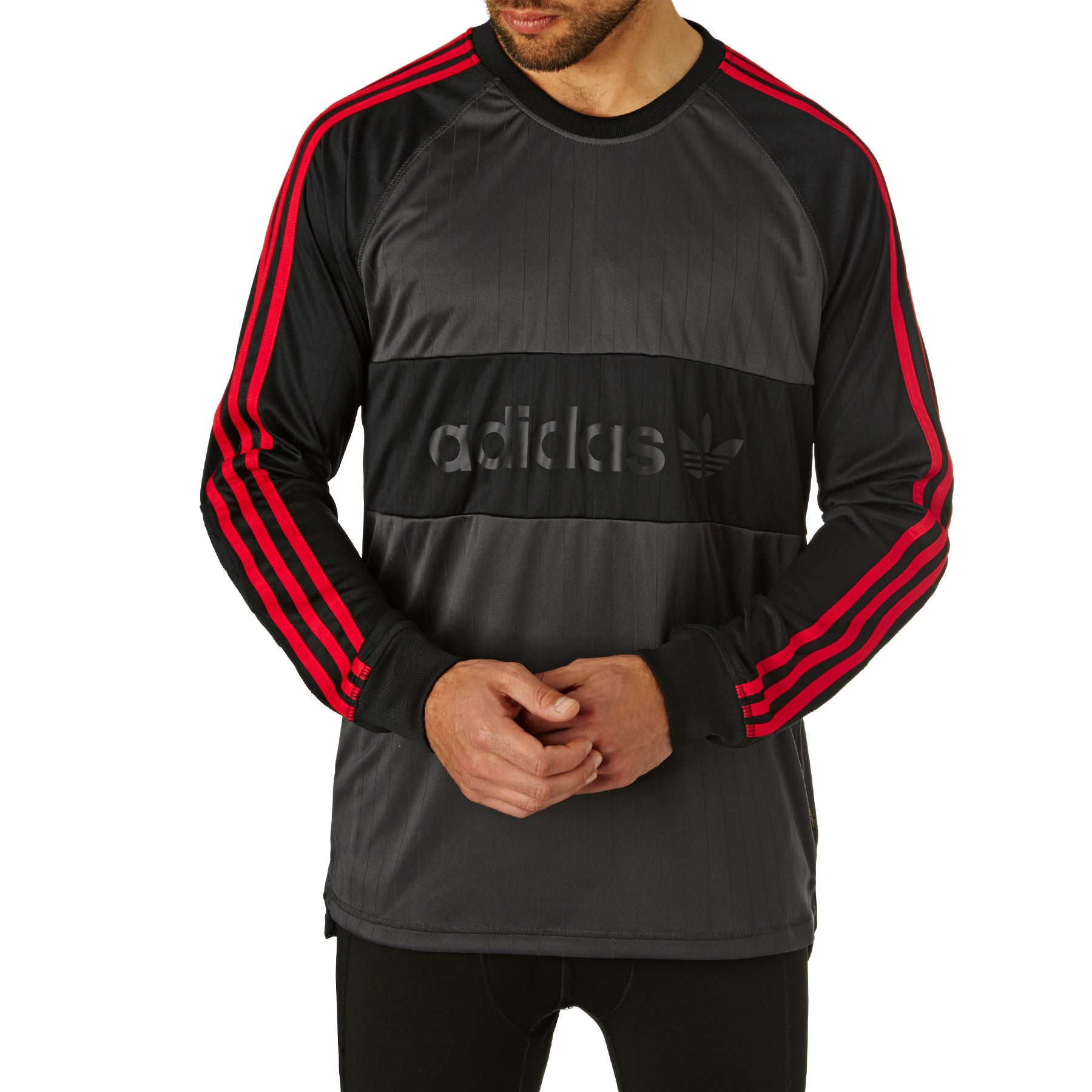 Adidas Goalie Jersey Long Sleeve T-Shirt - Black Scarlet