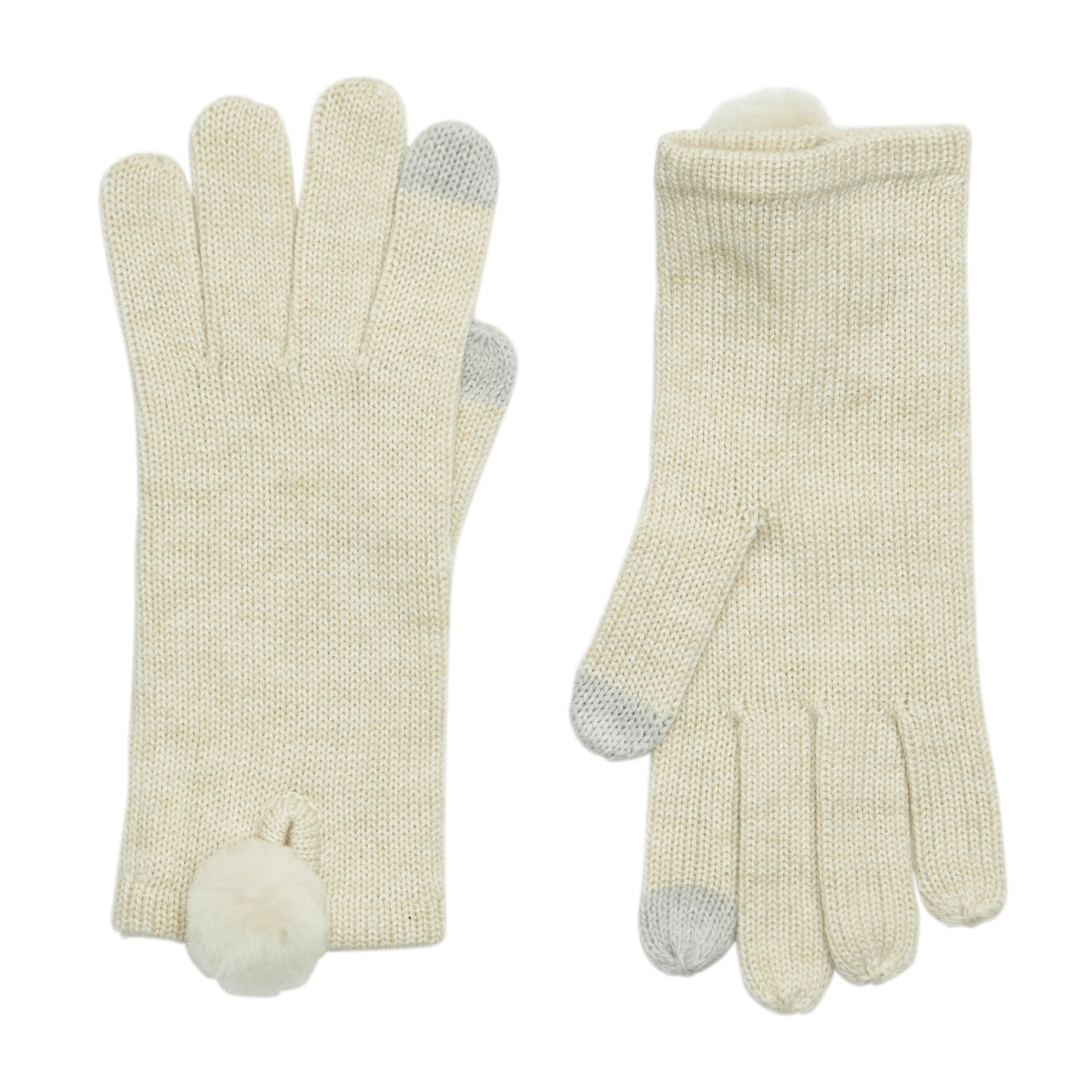 UGG Smart With Fur Poms Womens Gloves - Ivory Heather