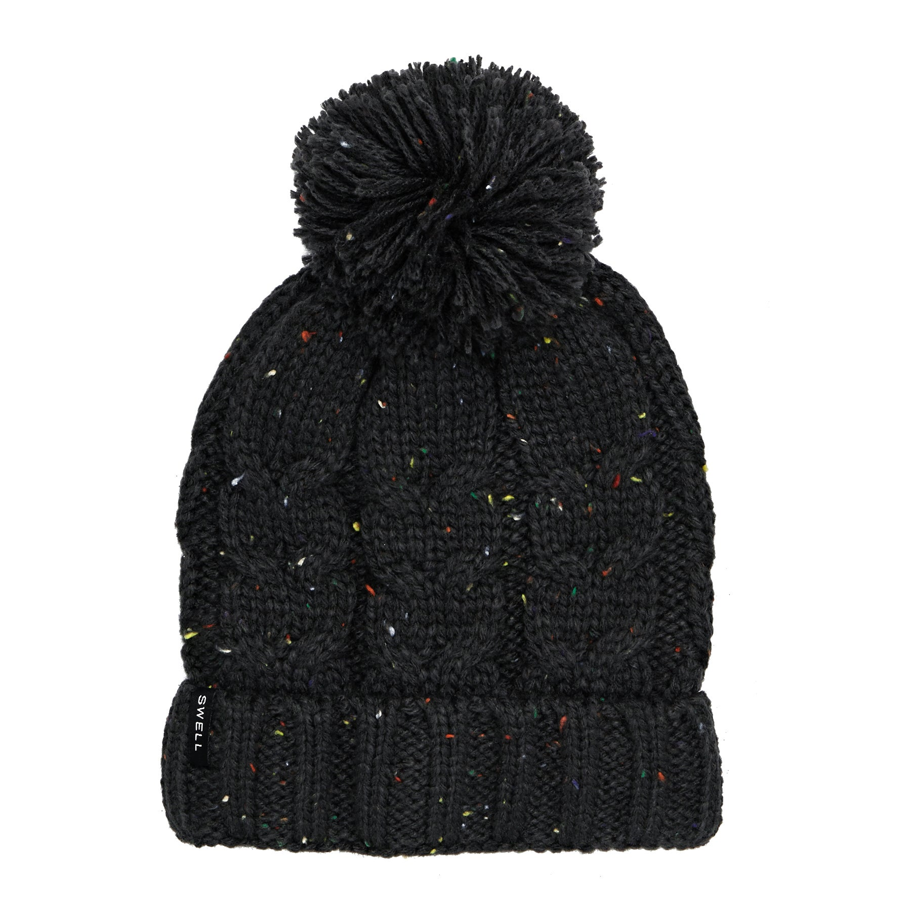 SWELL Cuffed Cable Knit Pom Beanie - Char Marle