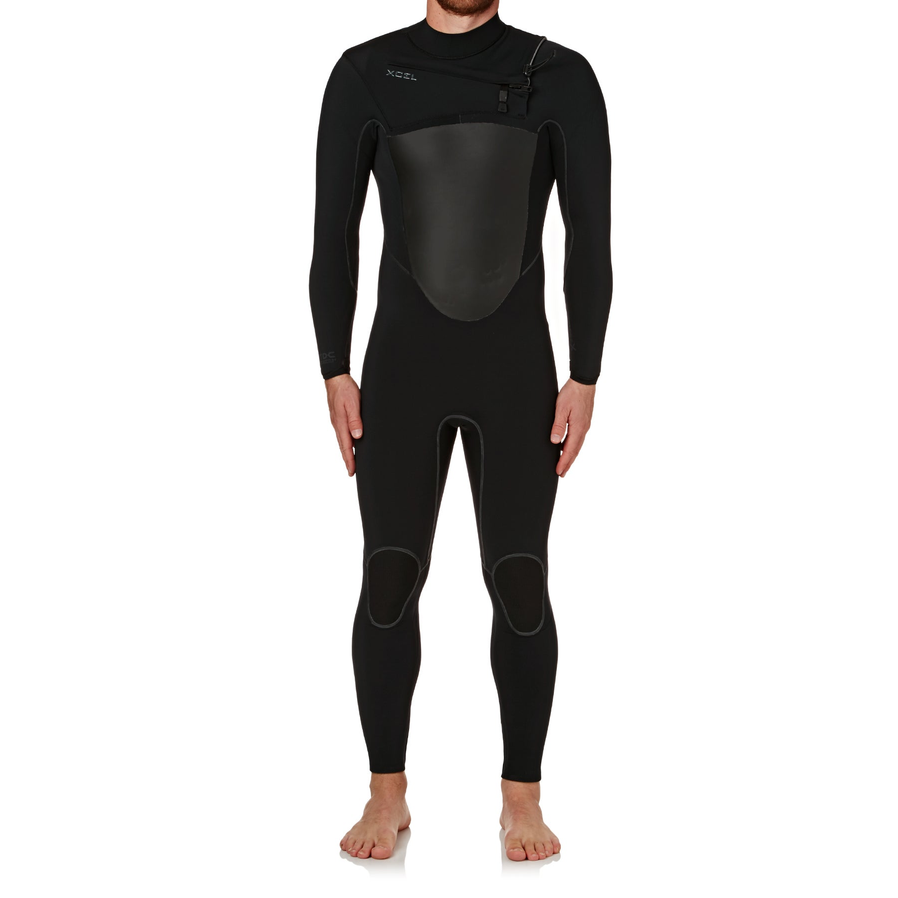 Xcel 4-3mm 2018 Drylock X Chest Zip Wetsuit - Black/ Black Logos