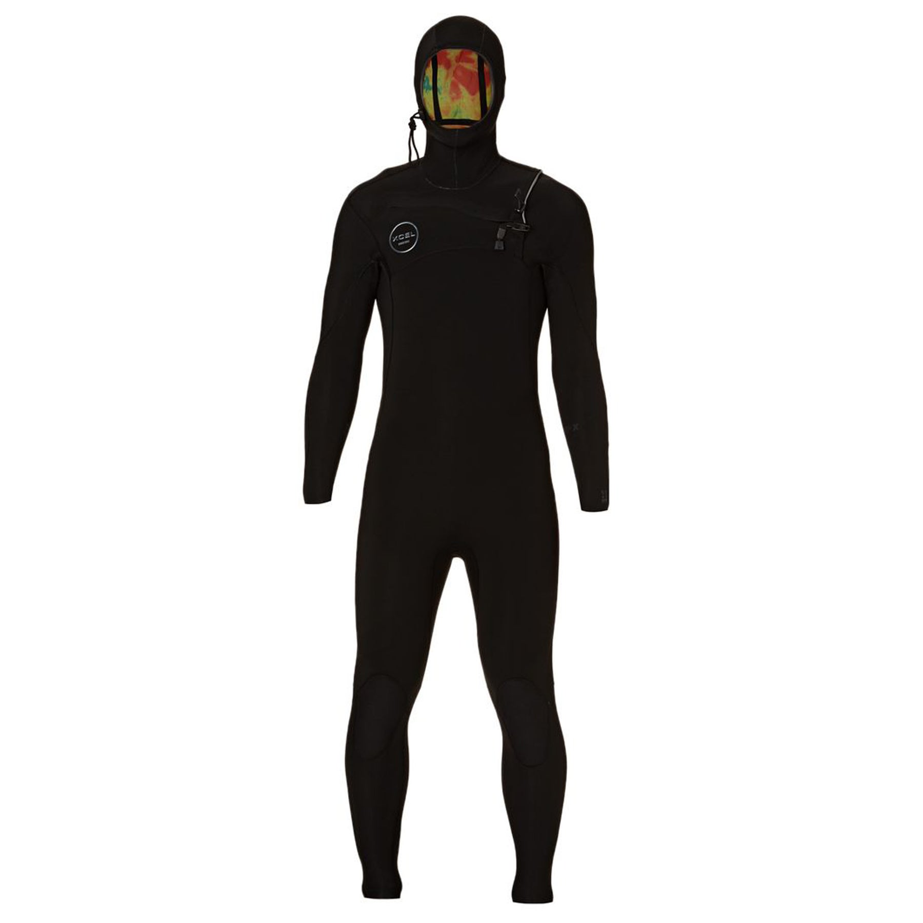 Xcel Comp X 5.5/4.5mm 2018 Chest Zip Hooded Wetsuit - Black/ Black Logos