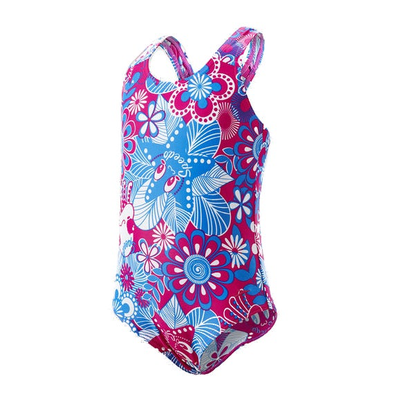 Maillot de Bain Speedo Essential Allover - Electric Pink Neon Blue White