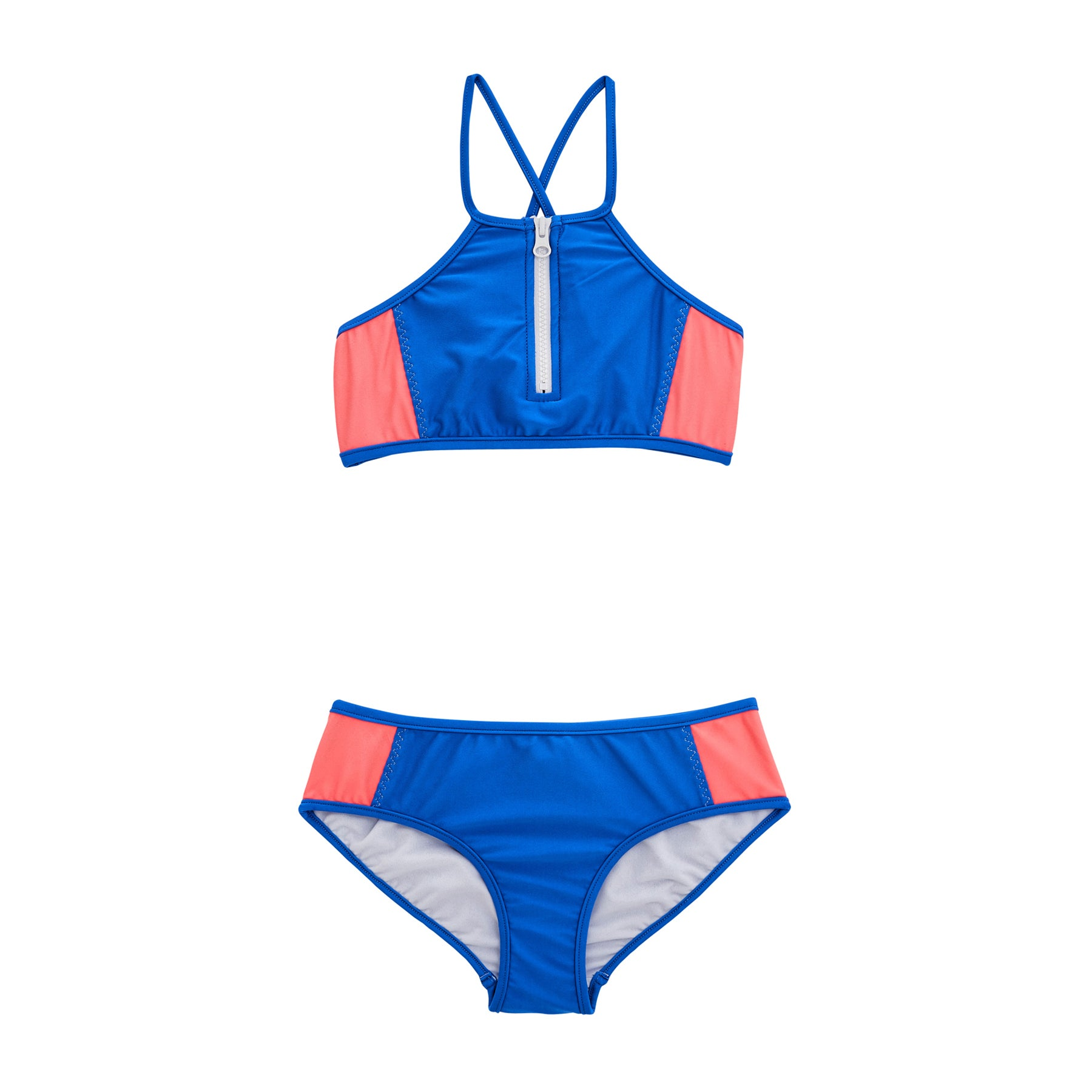 Seafolly Summer Essentials Colourblock Girls Bikini - Hawaii Blue