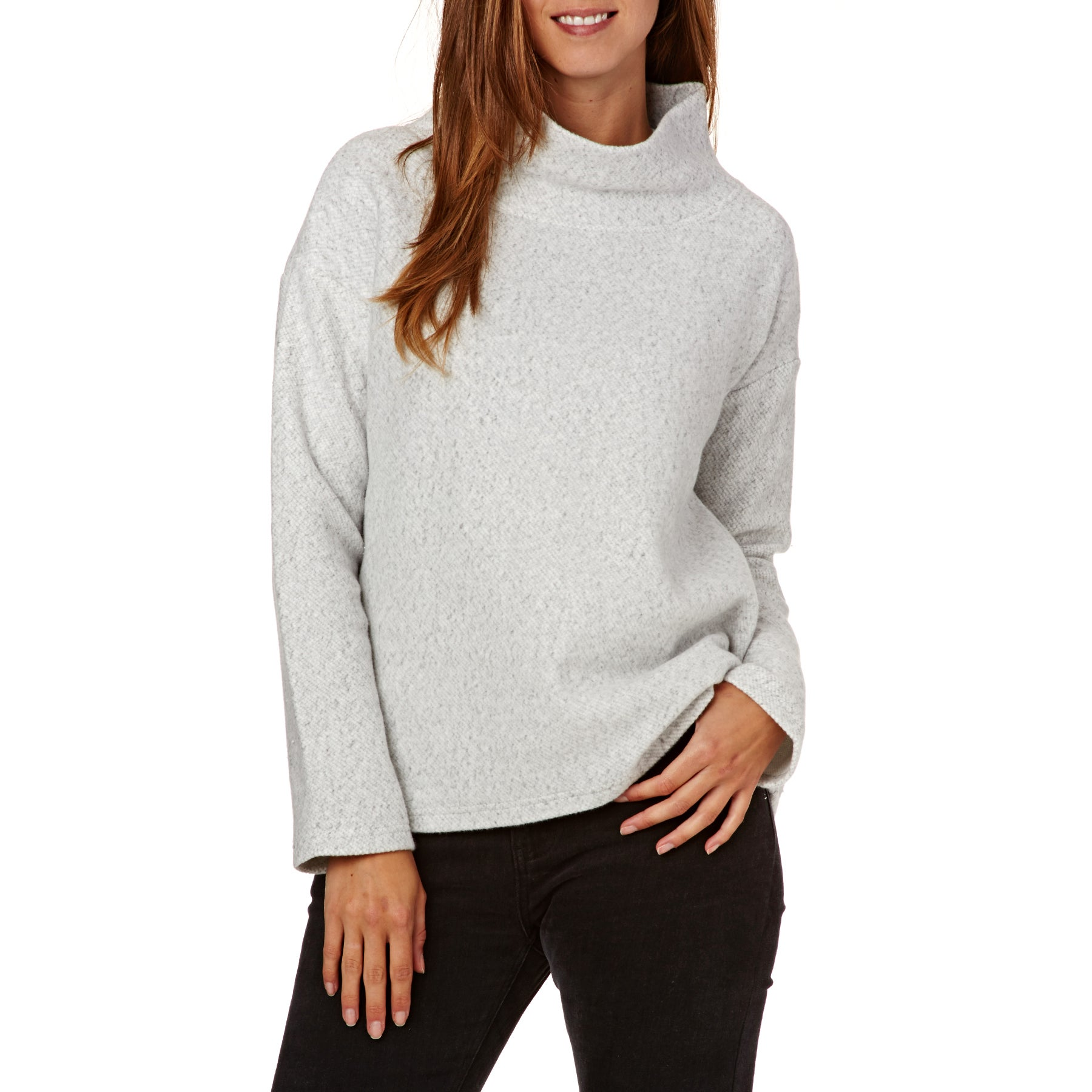 SWELL Les Arcs Funnel Neck Womens Sweater - Light Grey Marle