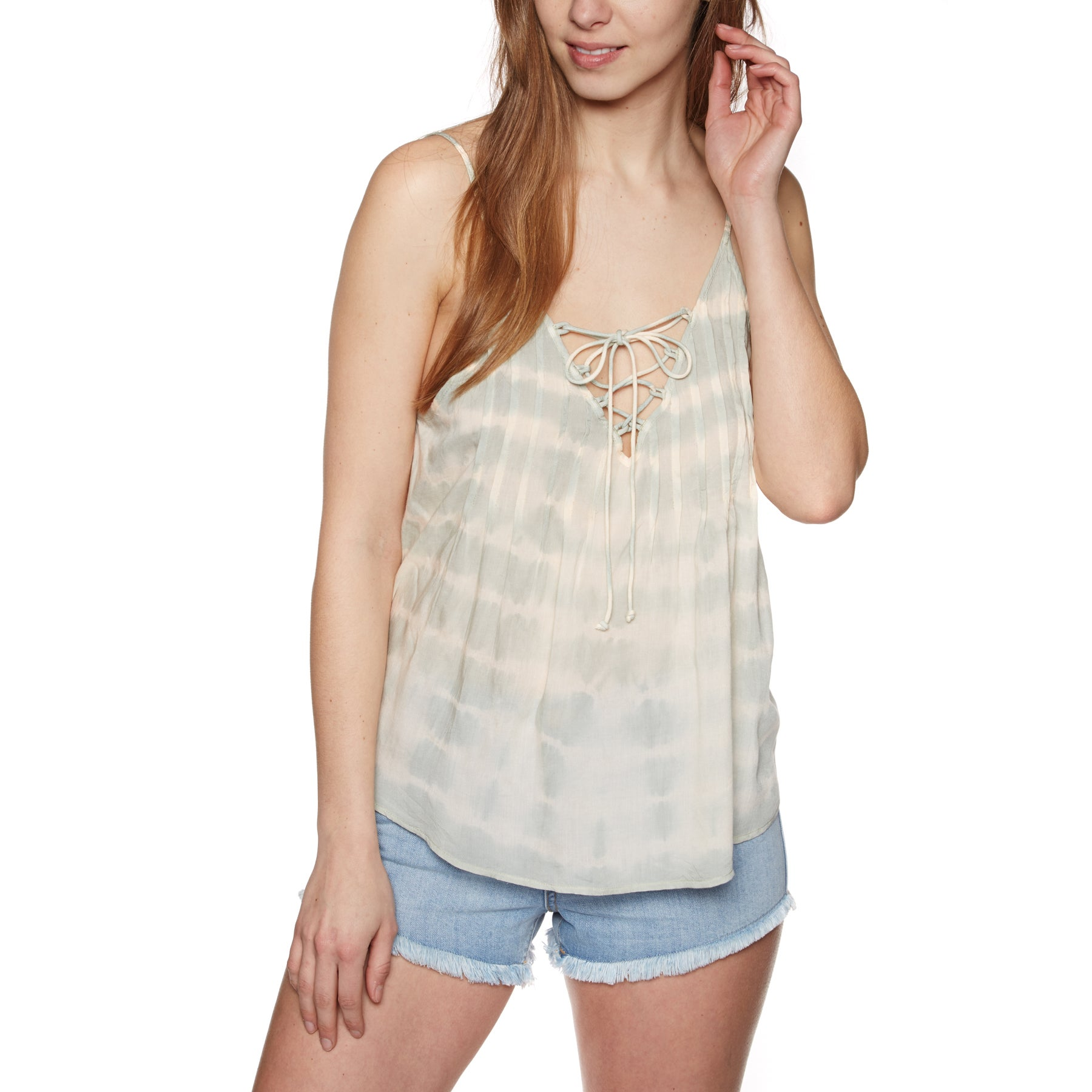 Billabong Illusions Of Tie Dye Womens Top - Mineral Green