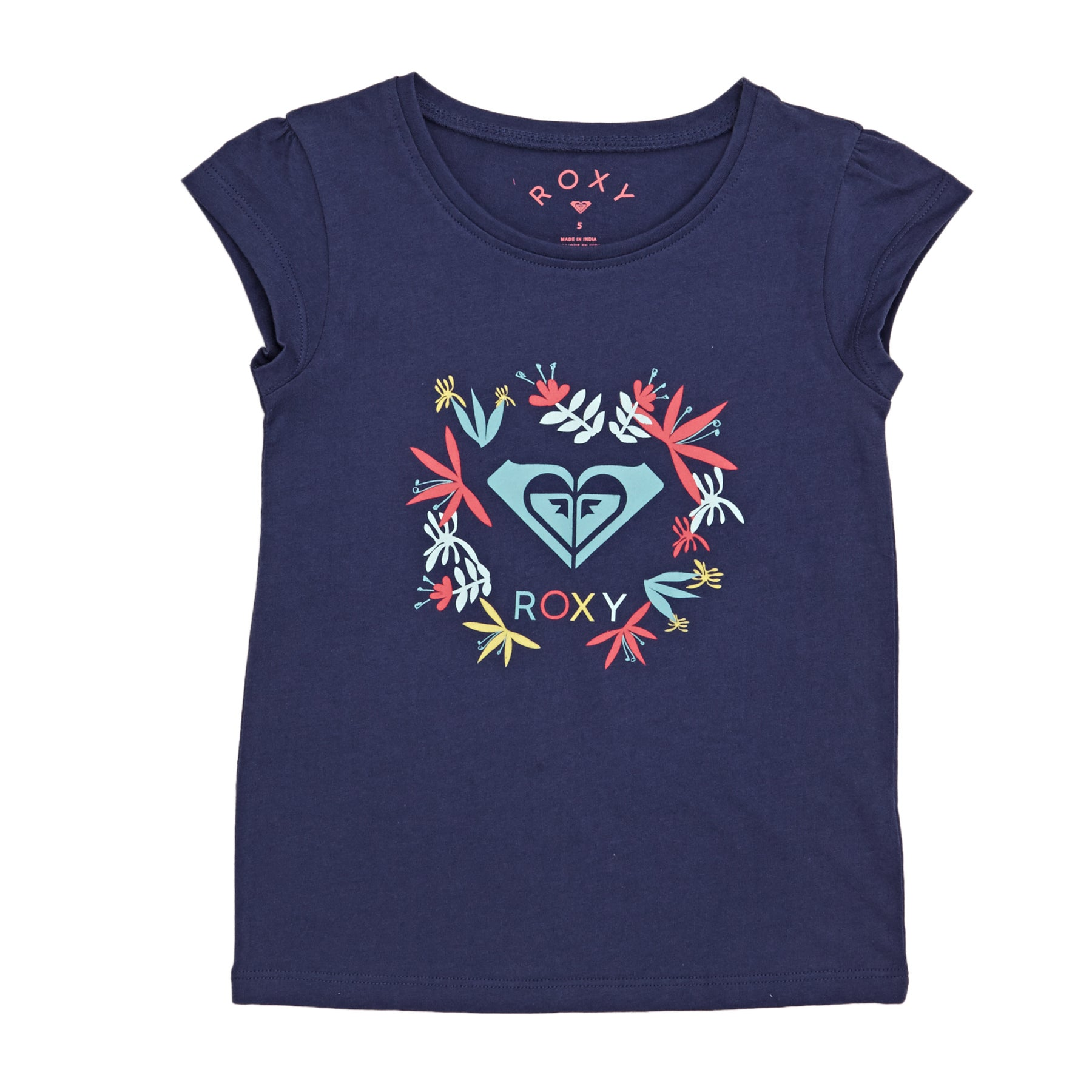 Roxy Moid Flower Logo Girls Short Sleeve T-Shirt - Deep Cobalt