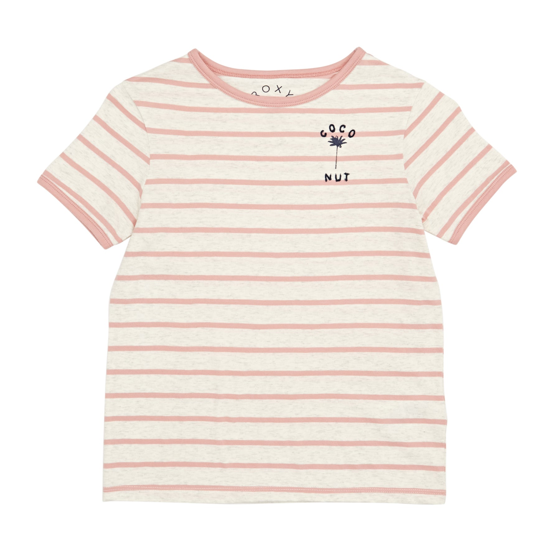 Roxy Telling Stories Girls Short Sleeve T-Shirt - Rose Tan Heather Nautic Stripe