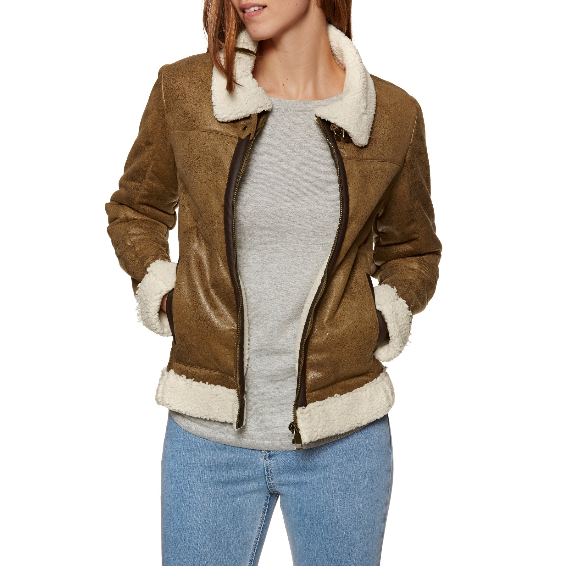 SWELL Crosby Faux Shearling Damen Jacke - Tan