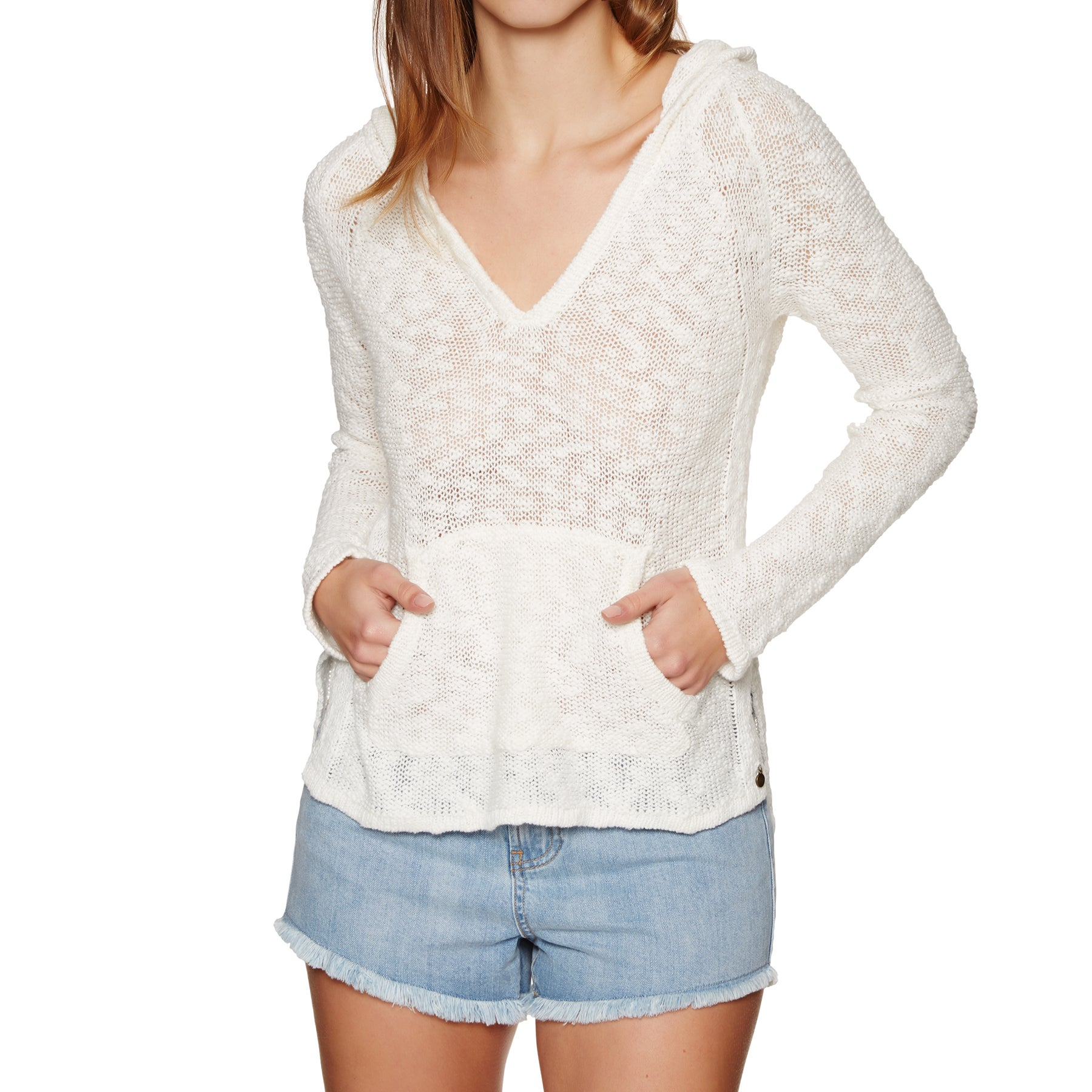 Pullover à Capuche Femme Roxy Slouchy Morning - Marshmallow