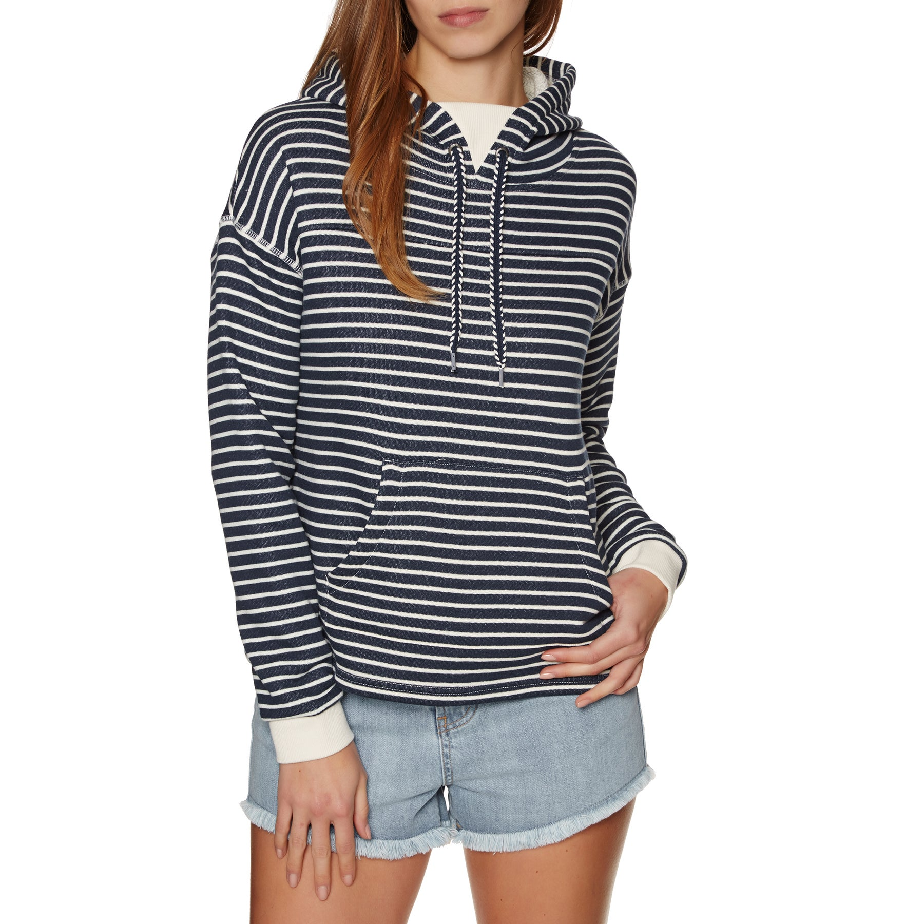 Roxy Greatest Glory Stripe Womens Pullover Hoody - Dress Blues Trippin