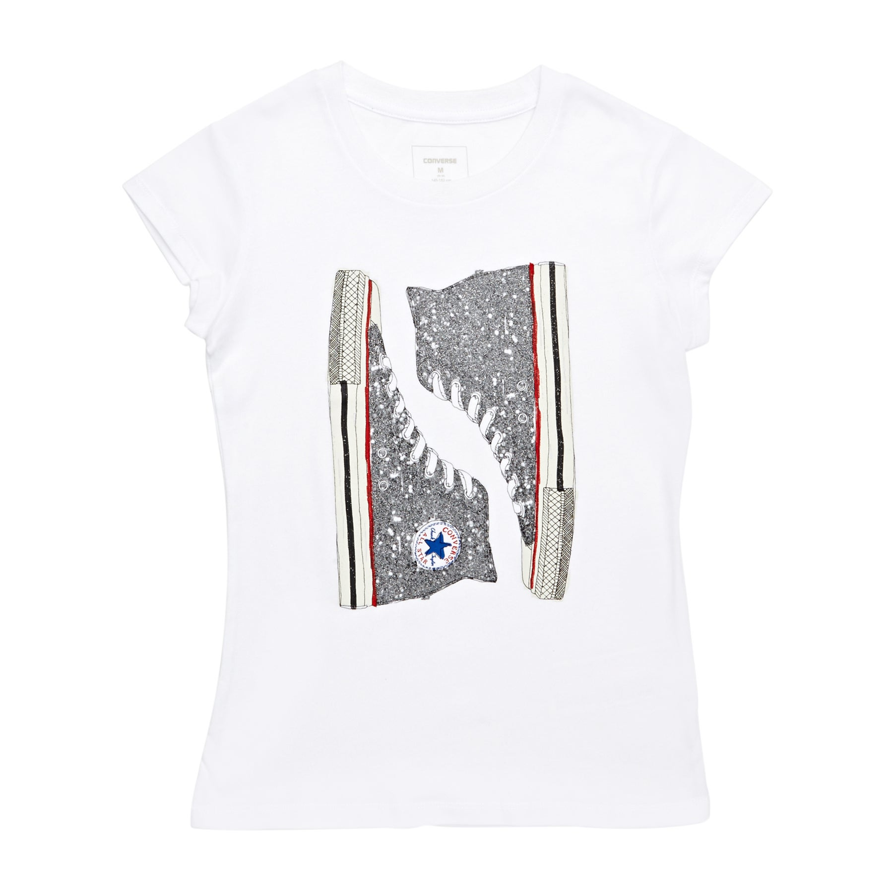 Converse Glitter Chucks Girls Short Sleeve T-Shirt