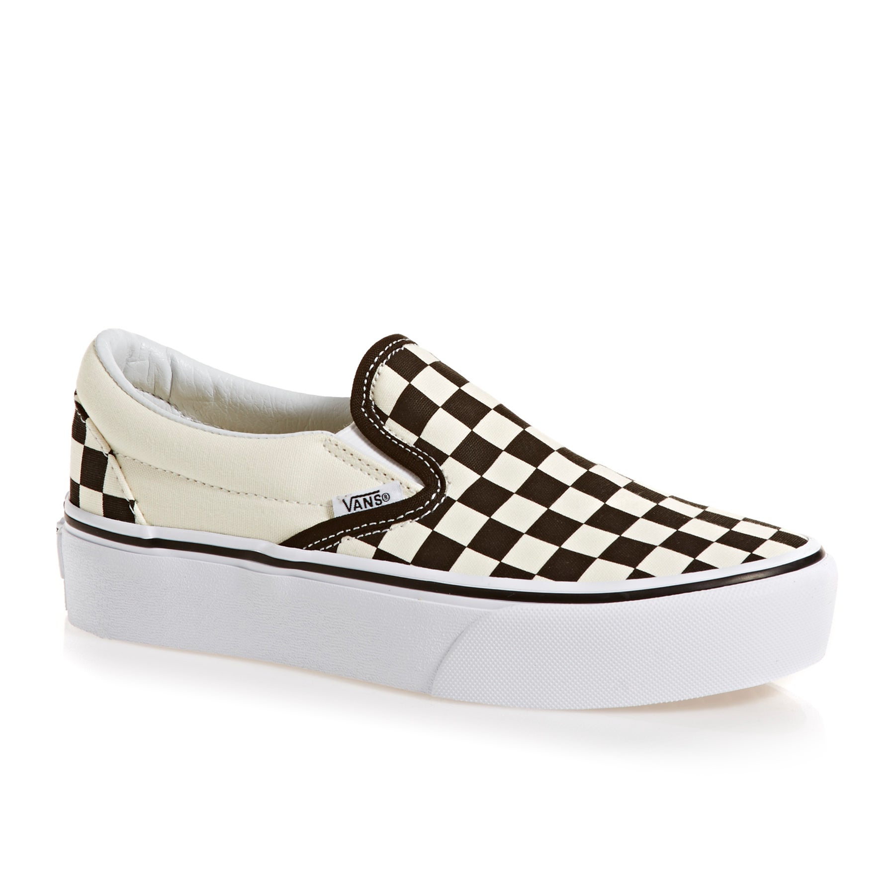 Vans Classic Womens Slip On Shoes - Black Cream Checker