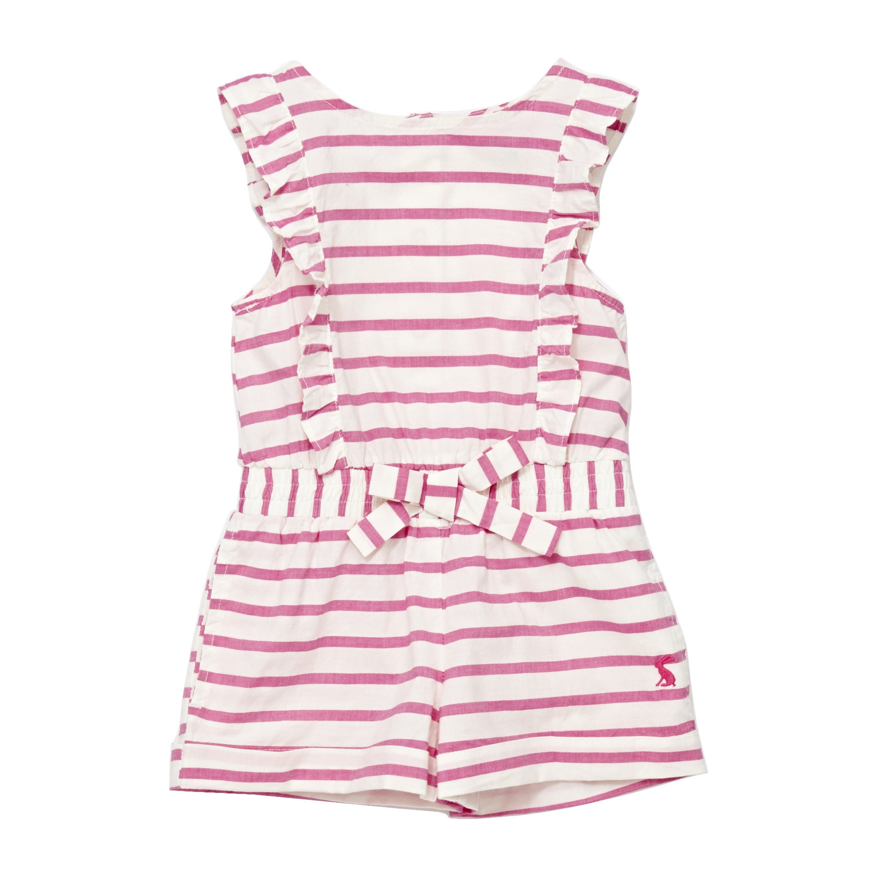 Joules Elle Girls Playsuit - Bright Pink Stripe