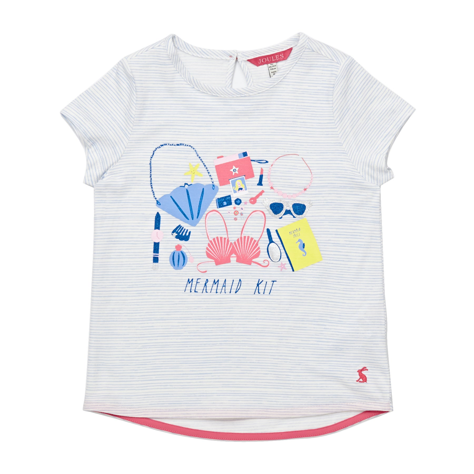 Joules Pixie Girls Short Sleeve T-Shirt - Sky Blue Mermaid Stripe