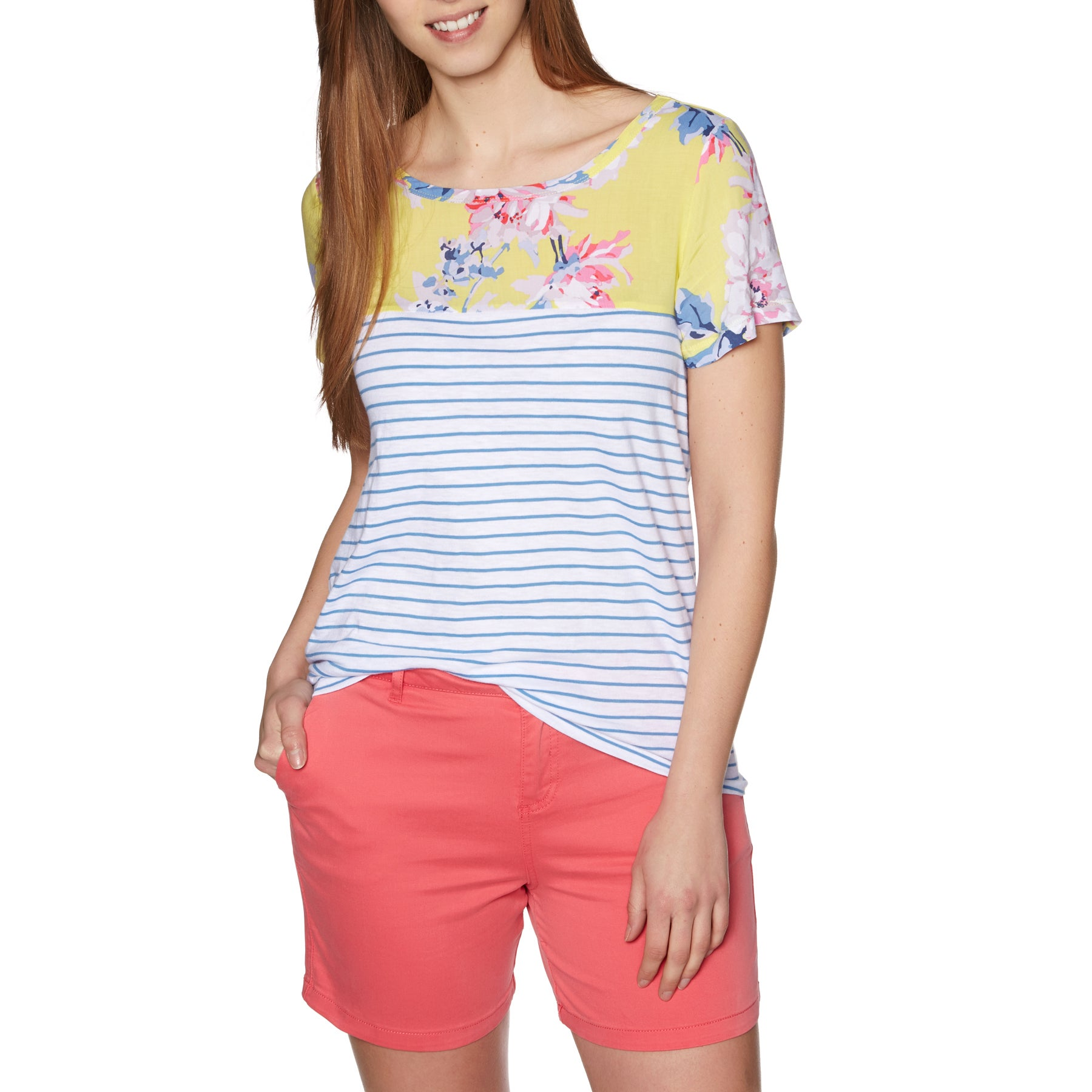 Joules Suzy Womens Short Sleeve T-Shirt - Lemon Whitstable Floral