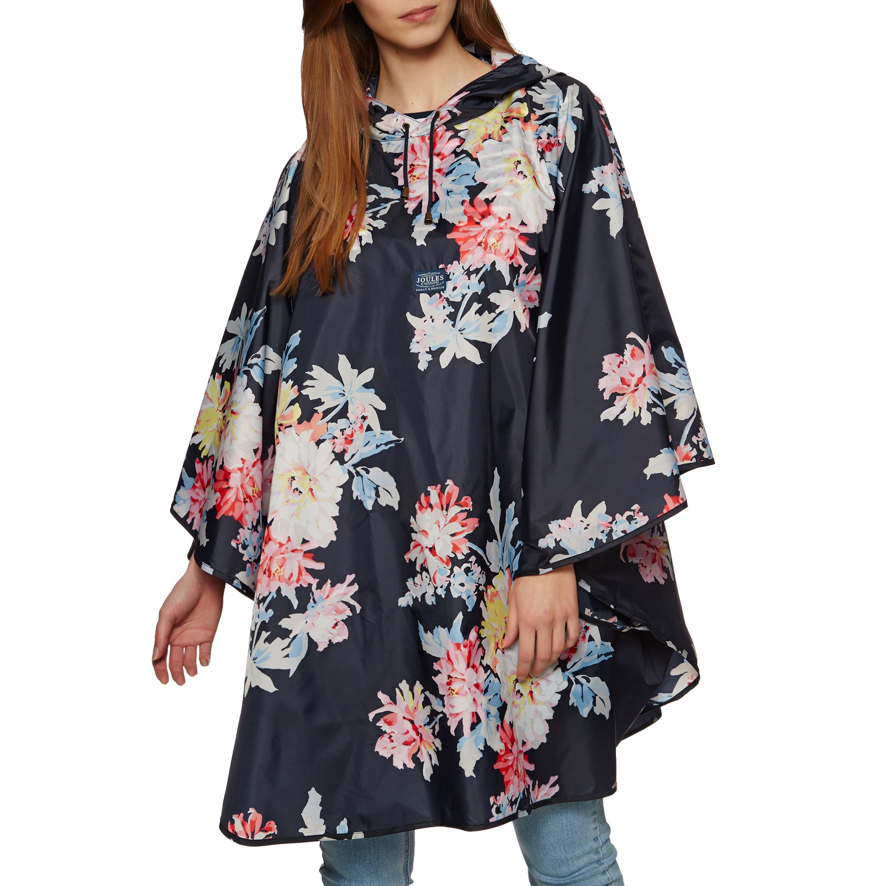 Joules Packaway Damen Poncho - Navy Whitstable Floral