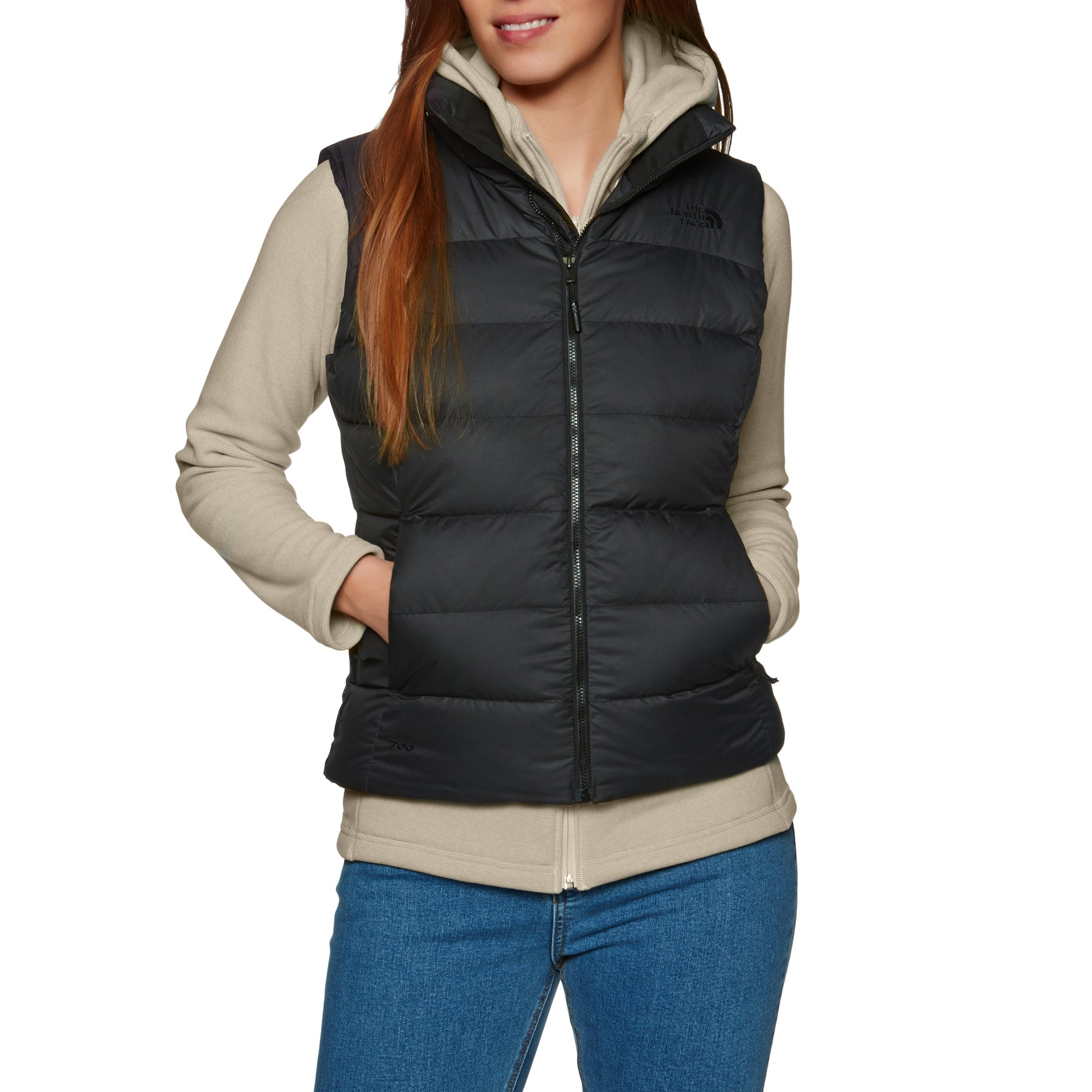 North Face Nuptse Womens Body Warmer - Tnf Black Foil Grey
