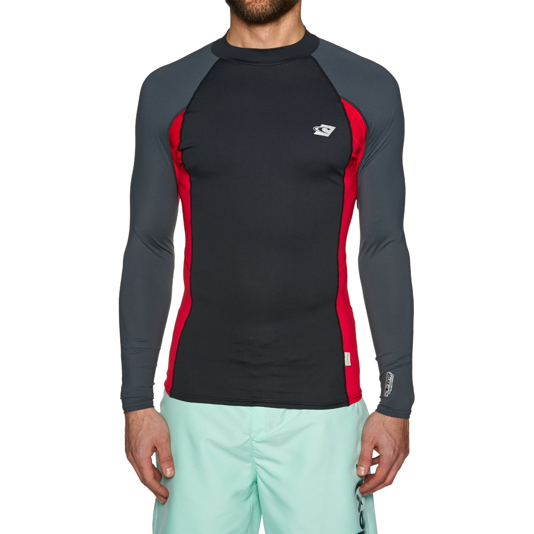 O Neill Premium Skins Long Sleeve Rash Vest - Blk/red/graph