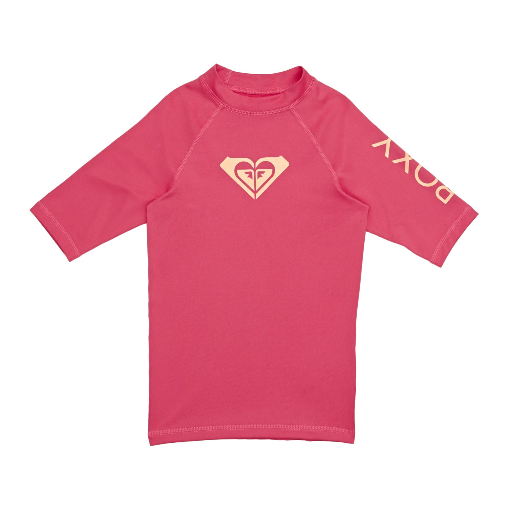 Roxy Whole Hearted Short Sleeve Girls Rash Vest - Rouge Red