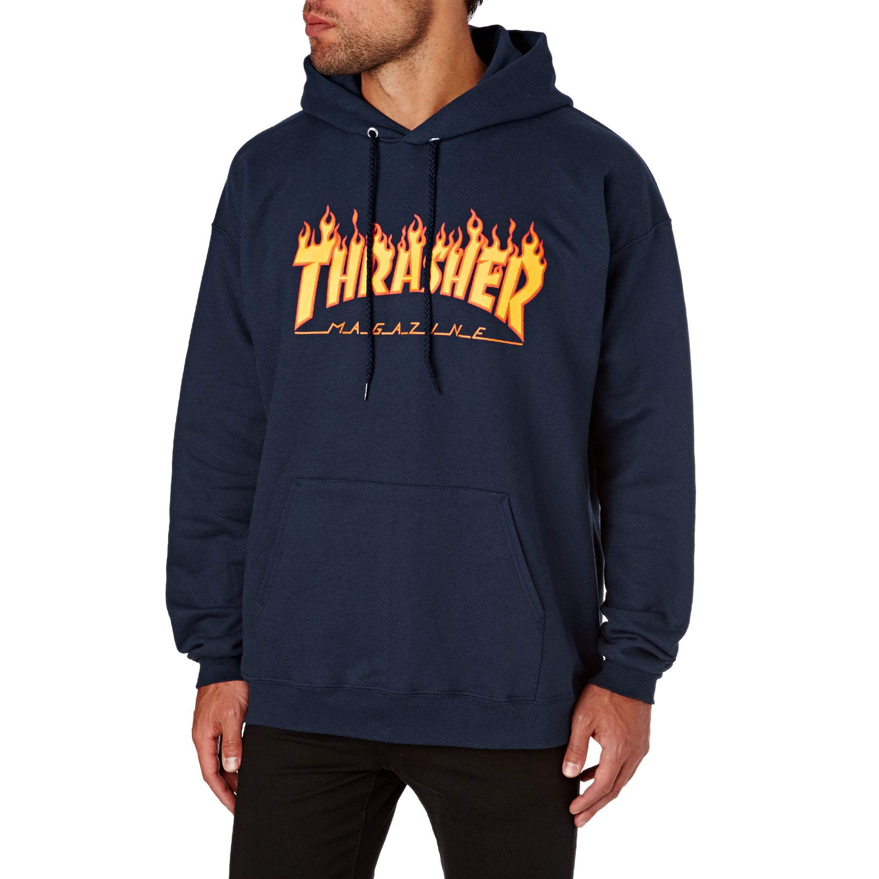 Thrasher Flame Logo Pullover Hoody - Navy
