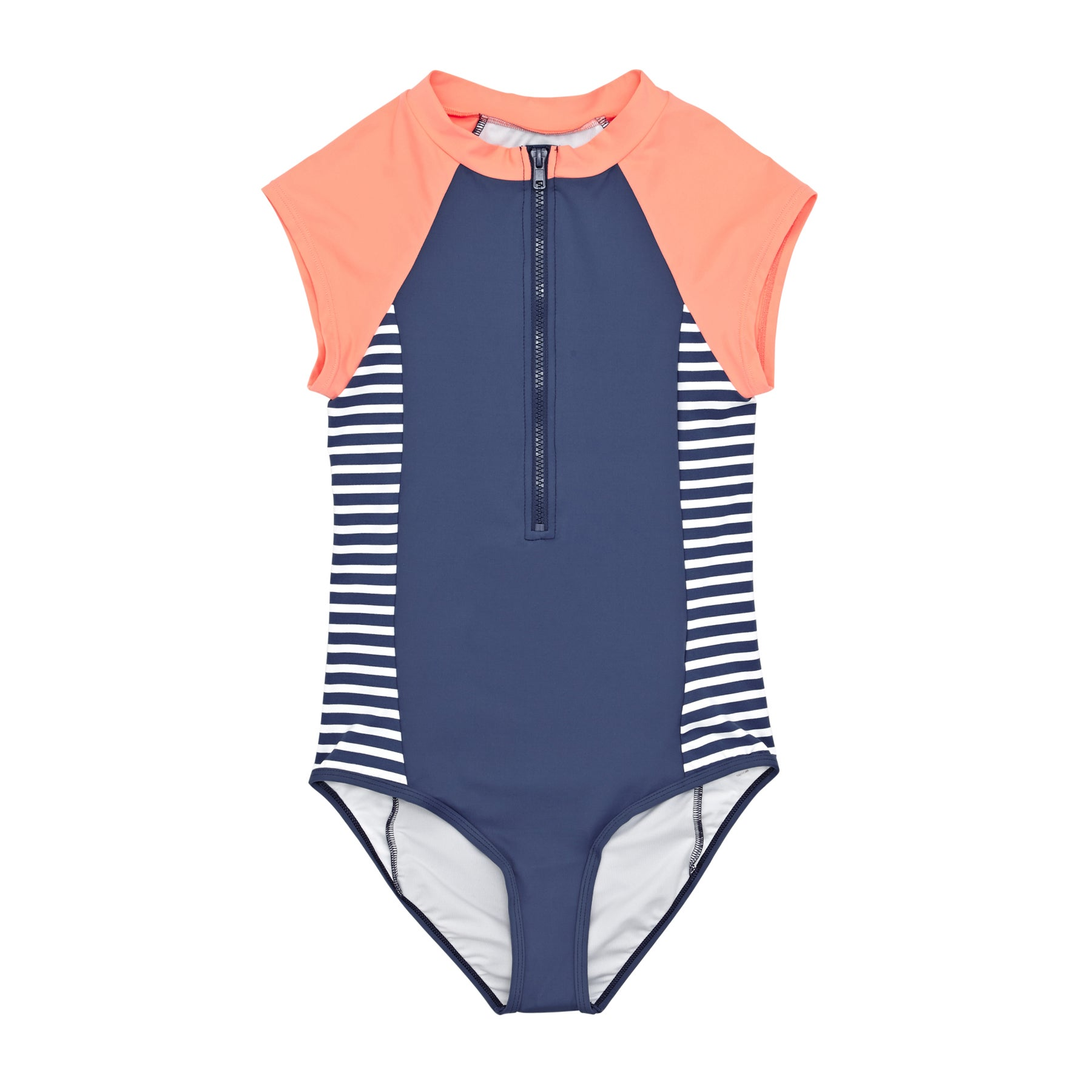 SWELL Stripe Short Sleeve Girls Swimsuit - Navy