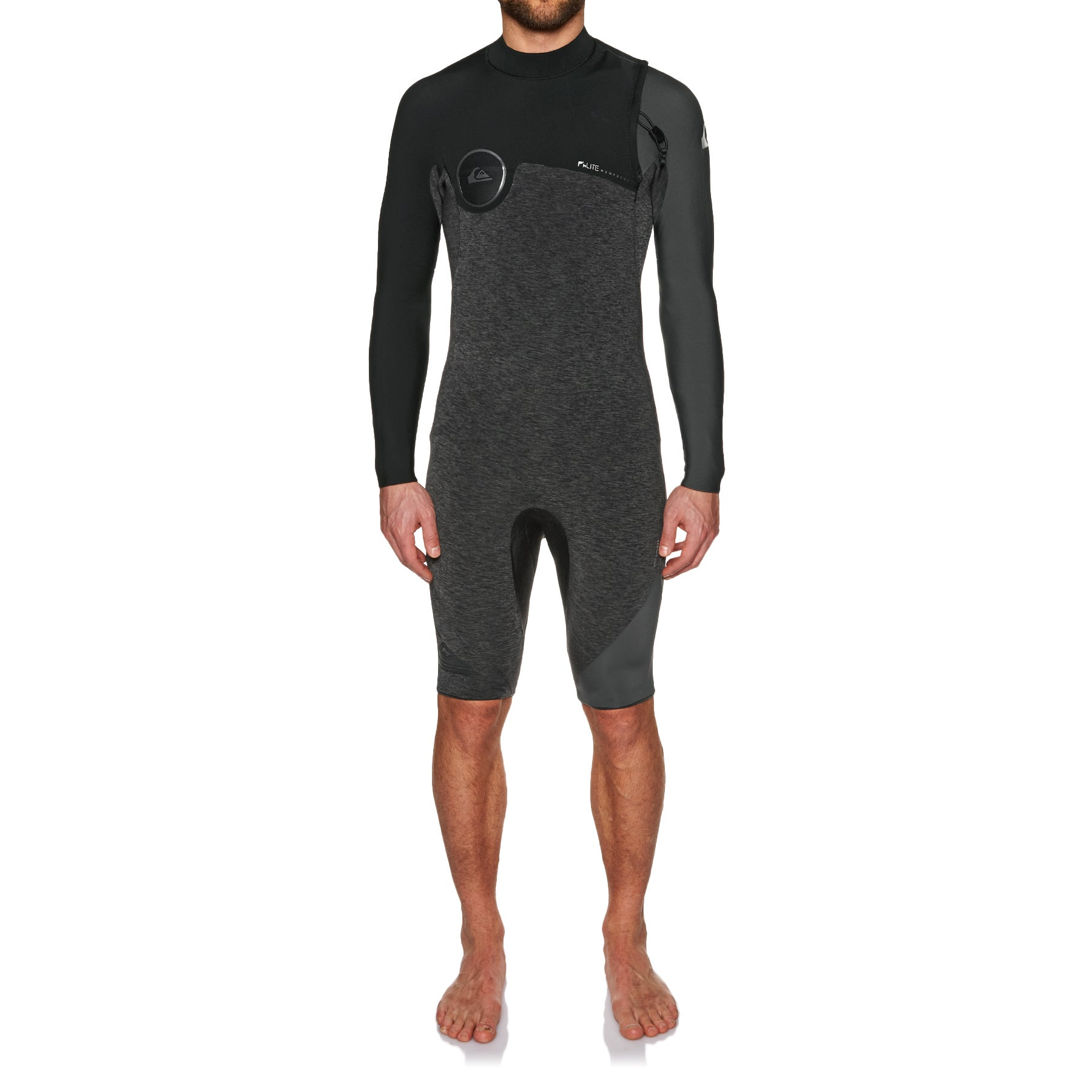 Quiksilver 2mm 2018 Hl Zipperless Long Sleeve Shorty Wetsuit - Heather Black/ Black