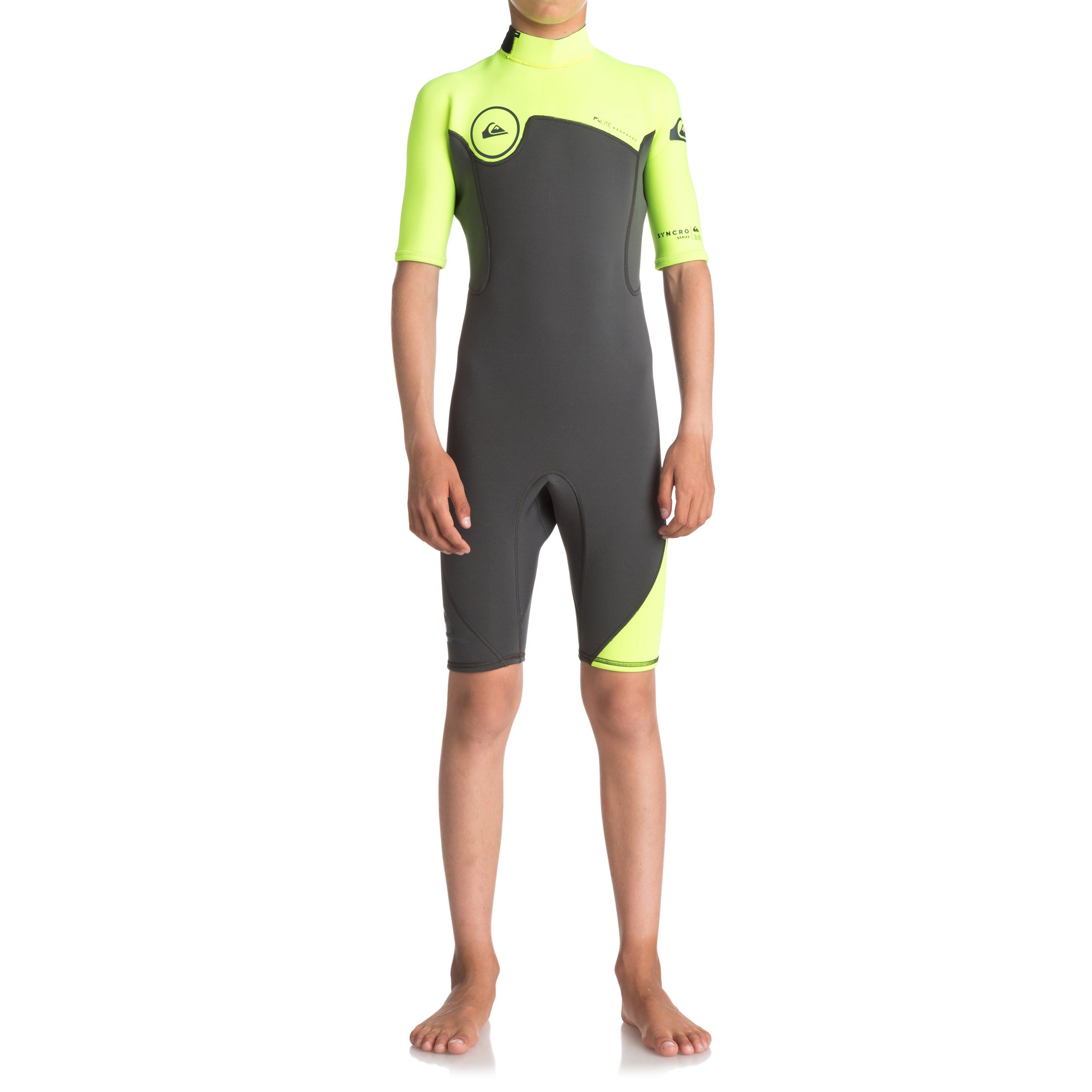 Quiksilver Syncro 2mm 2018 Back Zip Short Sleeve Wetsuit - Jet Black/ Safety Yellow