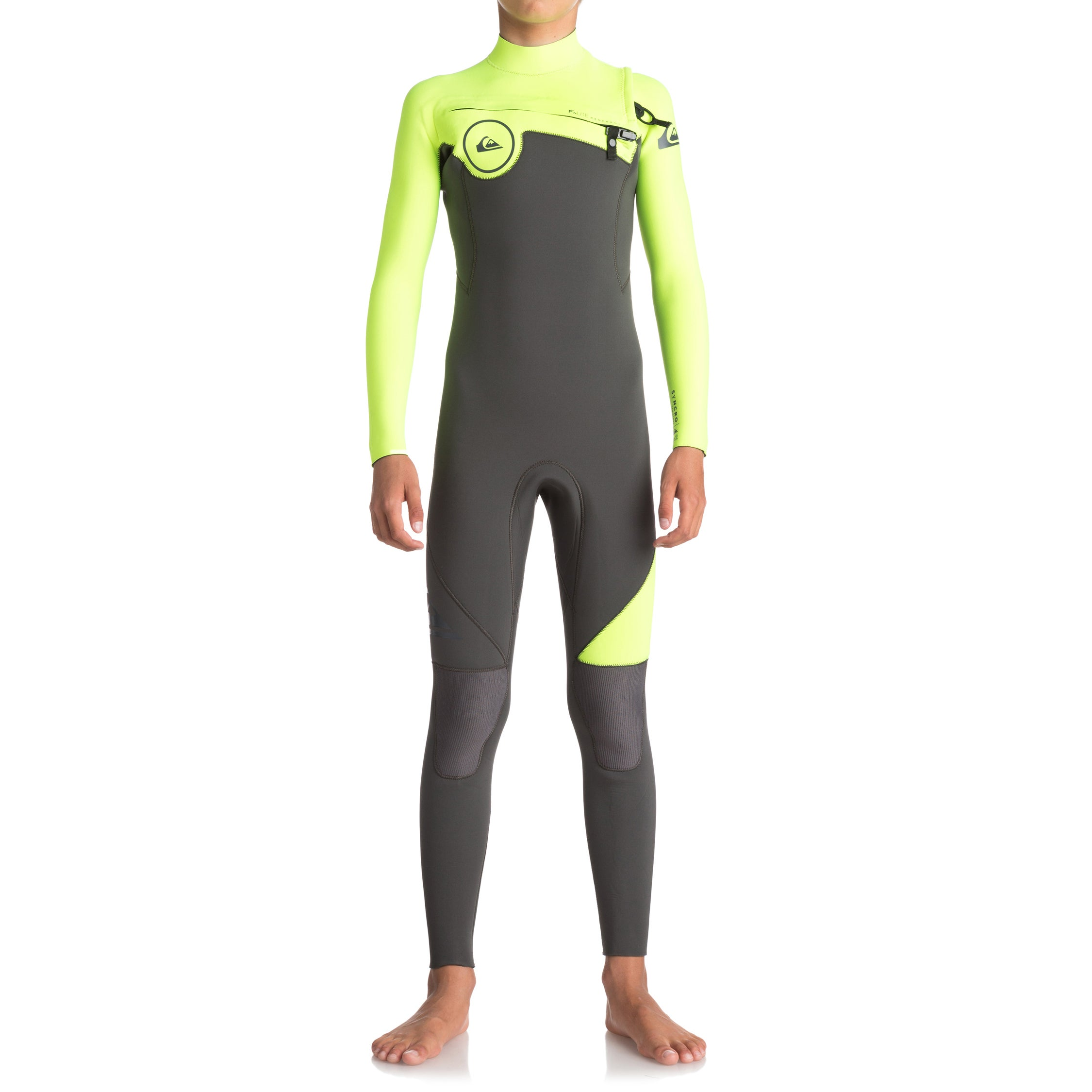 Quiksilver Syncro 3/2mm 2018 Chest Zip Wetsuit - Jet Black/ Safety Yellow