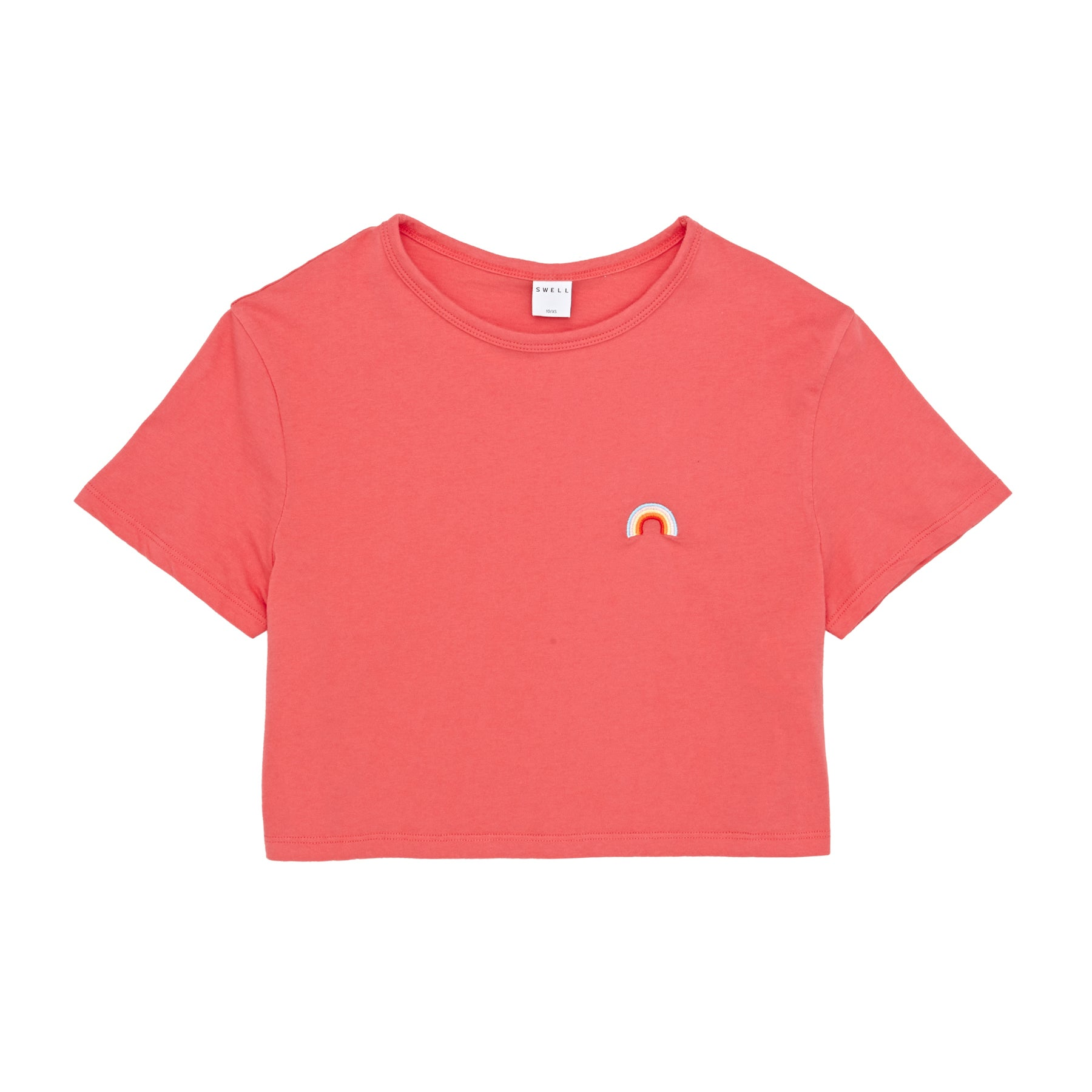 SWELL Rainbow Embroidery Girls Short Sleeve T-Shirt - Coral