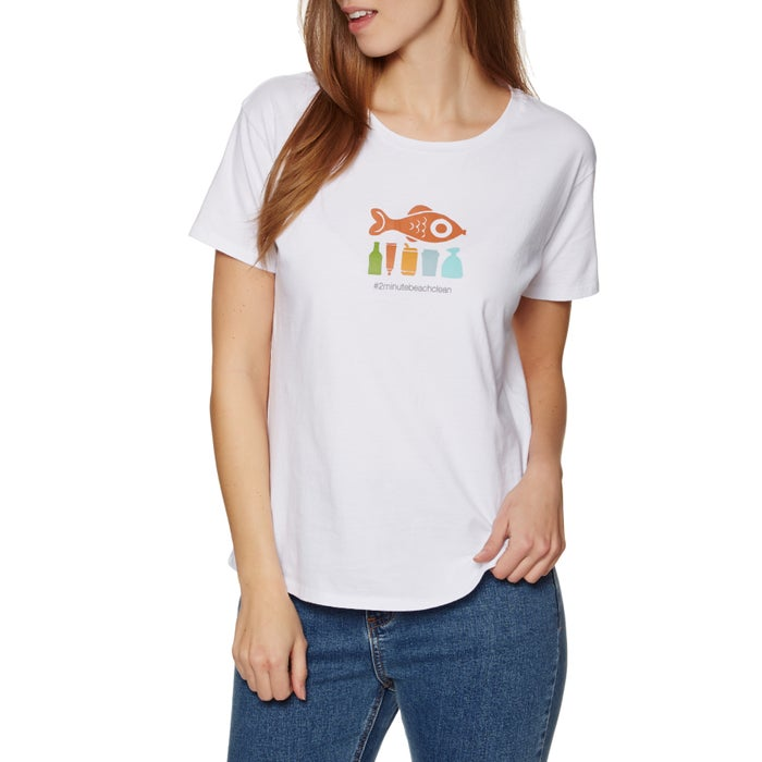 2 Minute Beach Clean Ladies Womens Short Sleeve T-Shirt