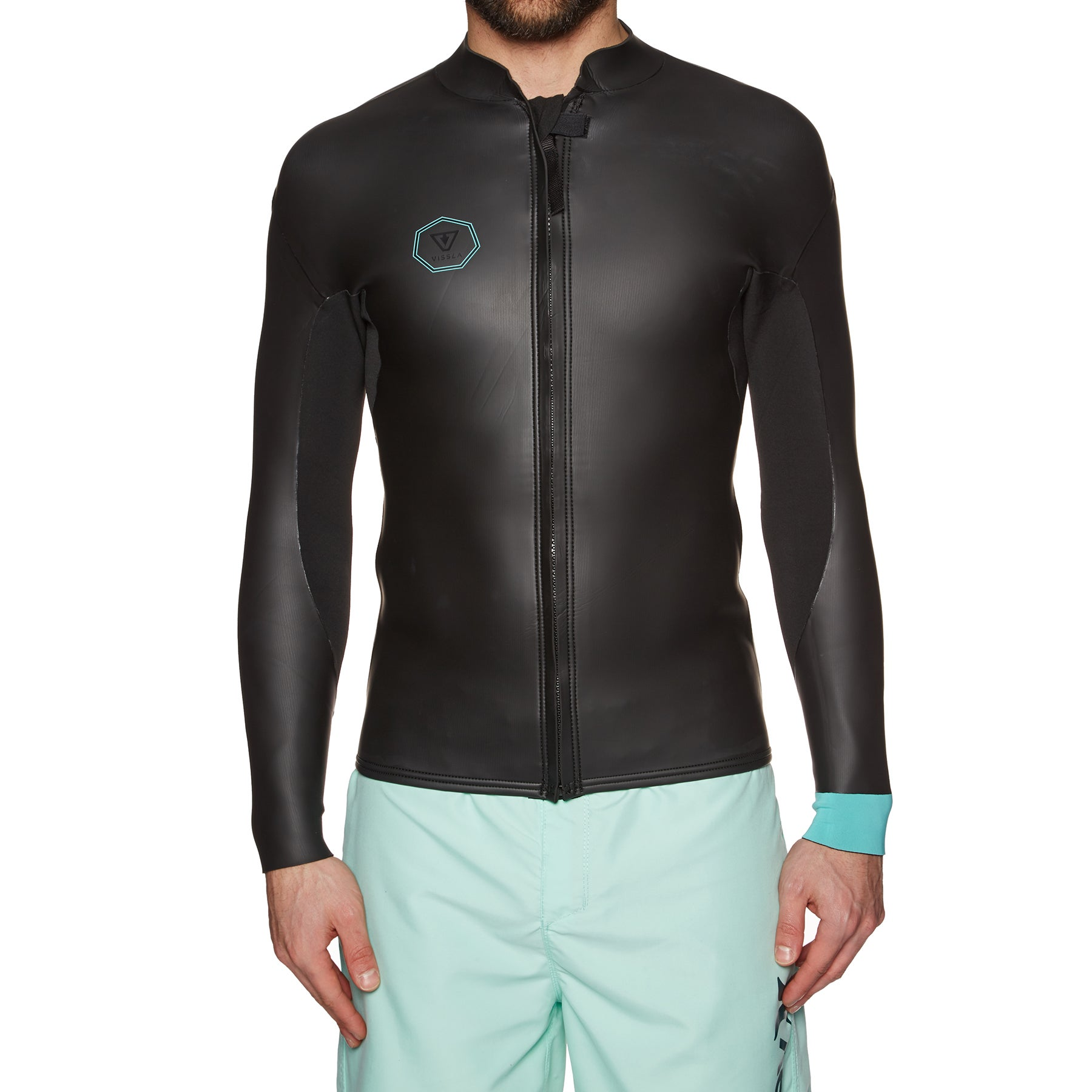Vissla North Seas Smoothy 2mm 2019 Long Sleeve Front Zip Wetsuit Jacket - Black With Jade