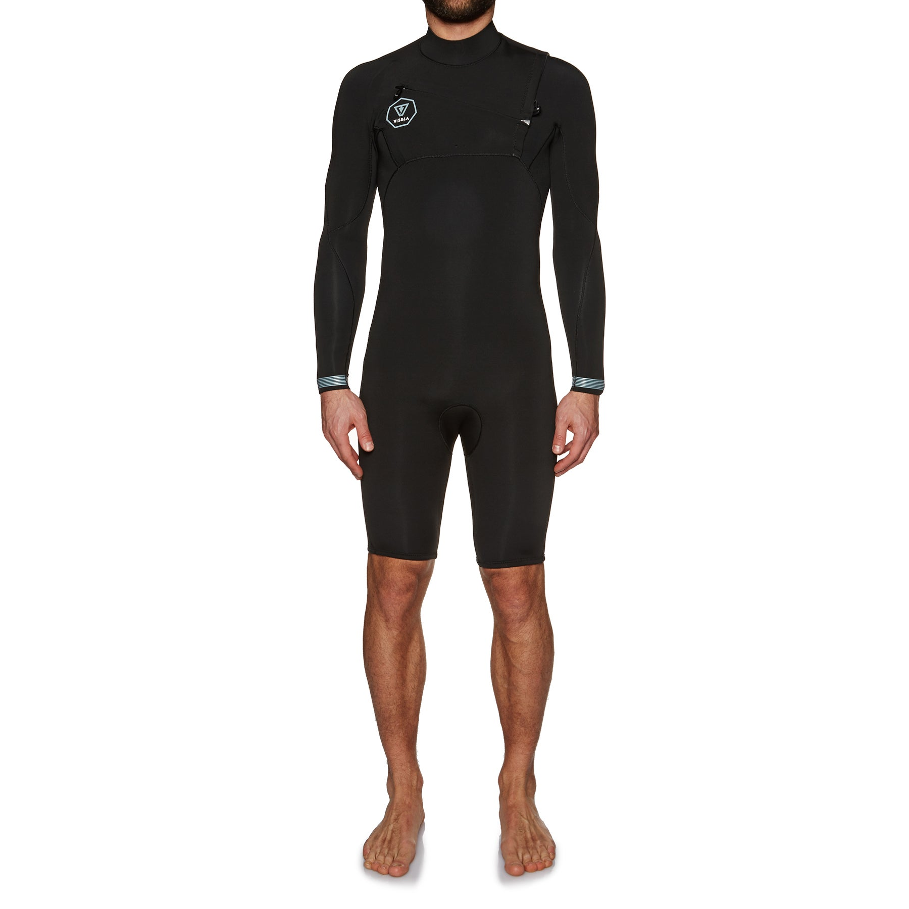 Vissla 7 Seas 2mm Chest Zip Long Sleeve Shorty Wetsuit - Black Fade