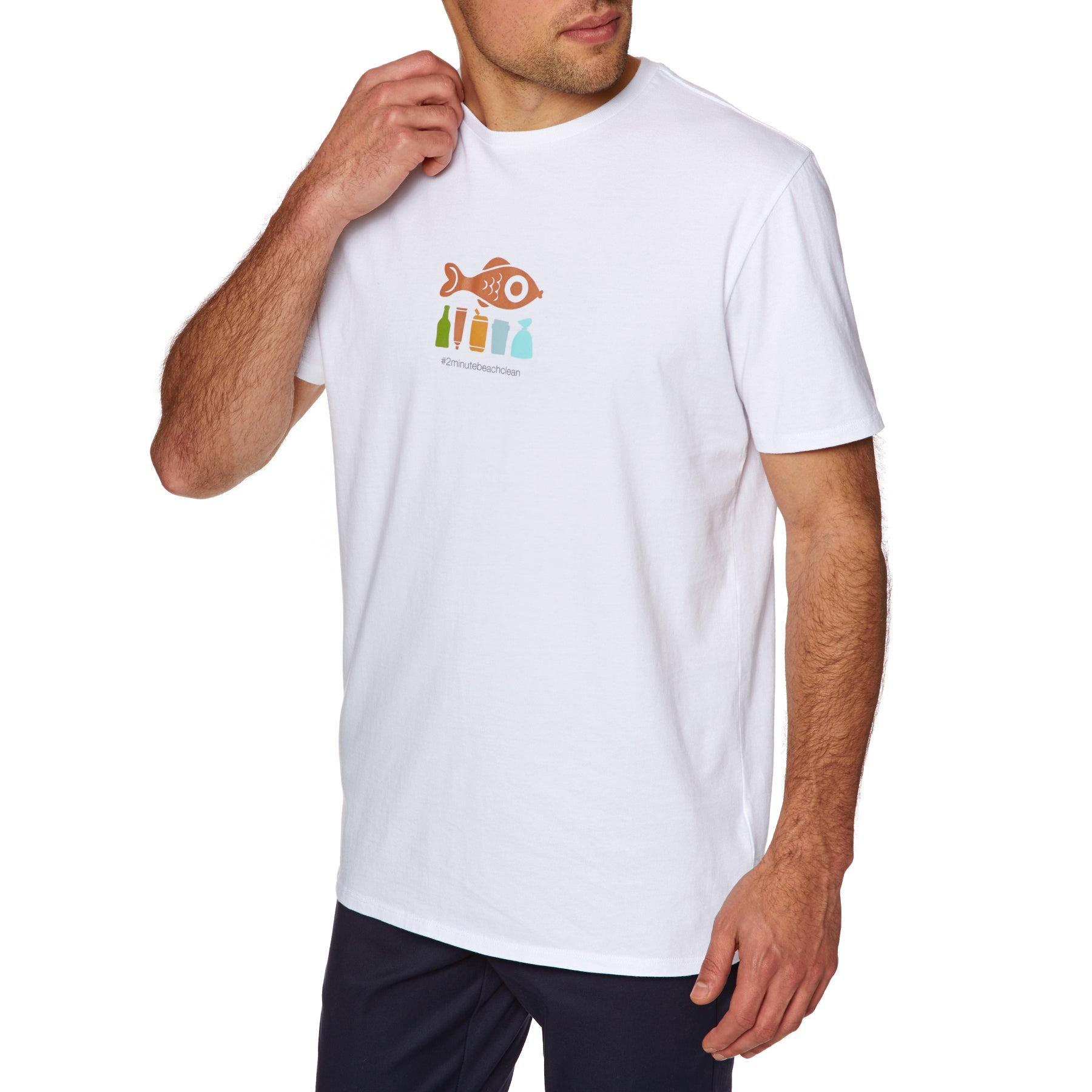 2 Minute Beach Clean Mens Short Sleeve T-Shirt - White