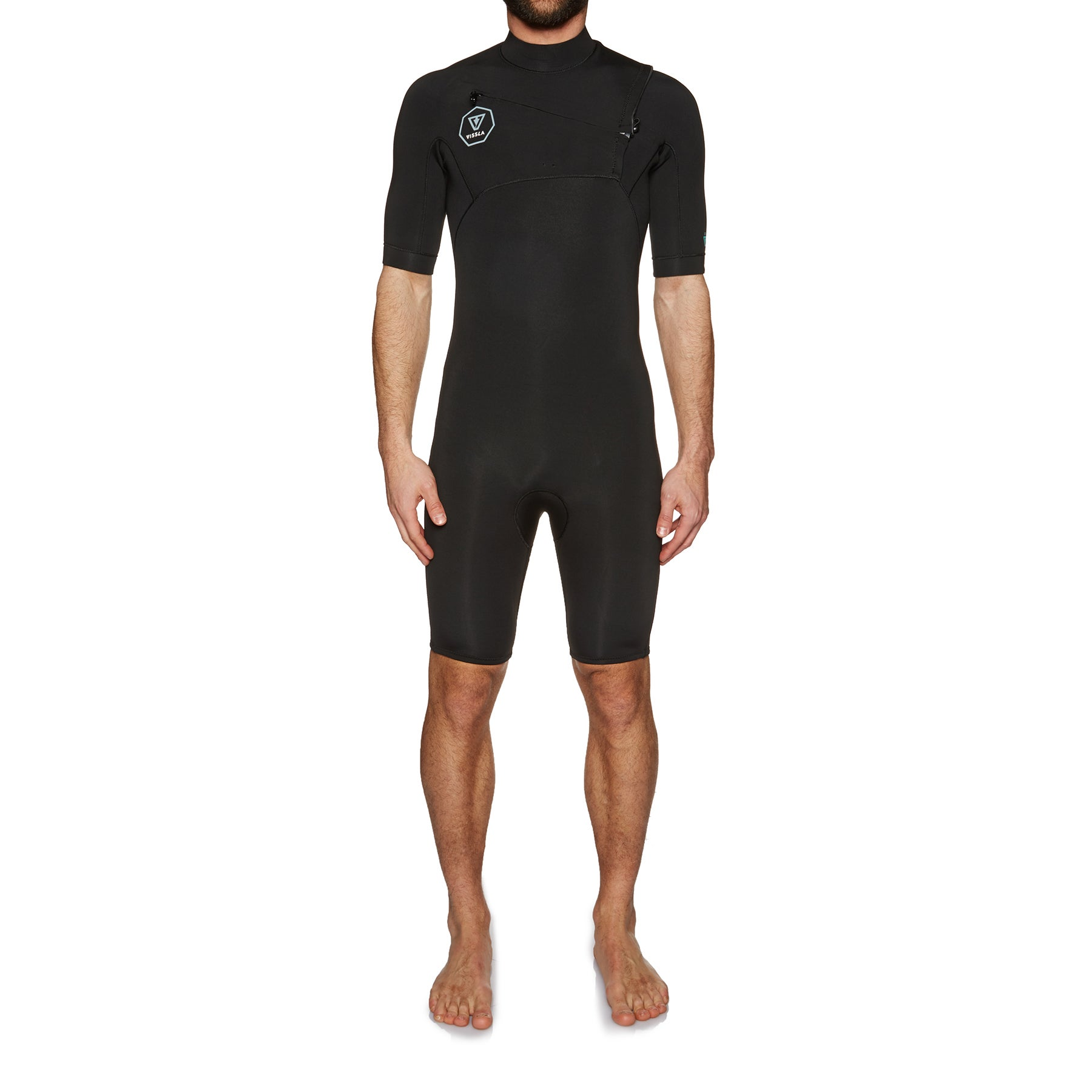 Vissla 7 Seas 2mm Chest Zip Shorty Wetsuit - Black Fade