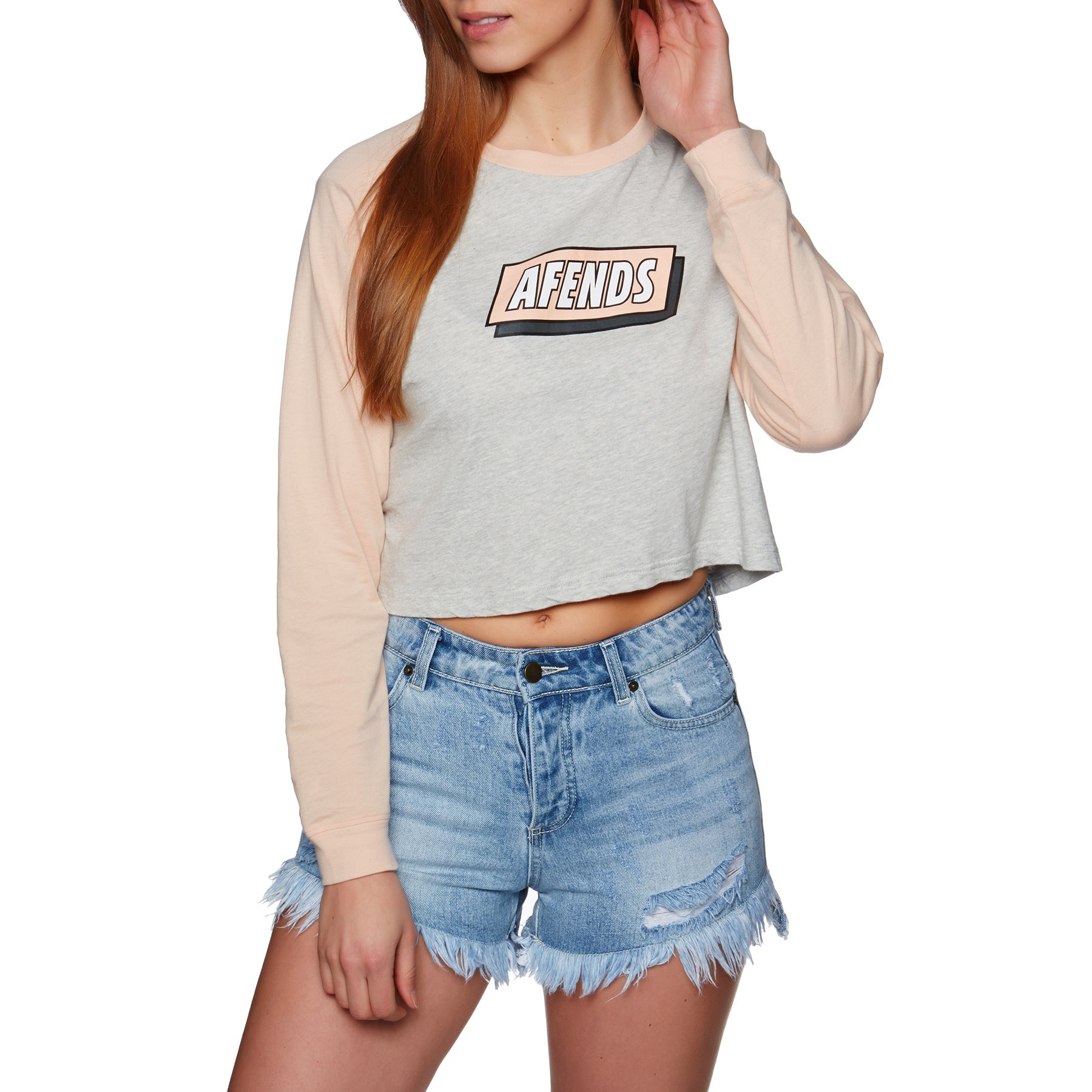 Afends Nicks Womens Long Sleeve T-Shirt - Grey Marle Washed Peach