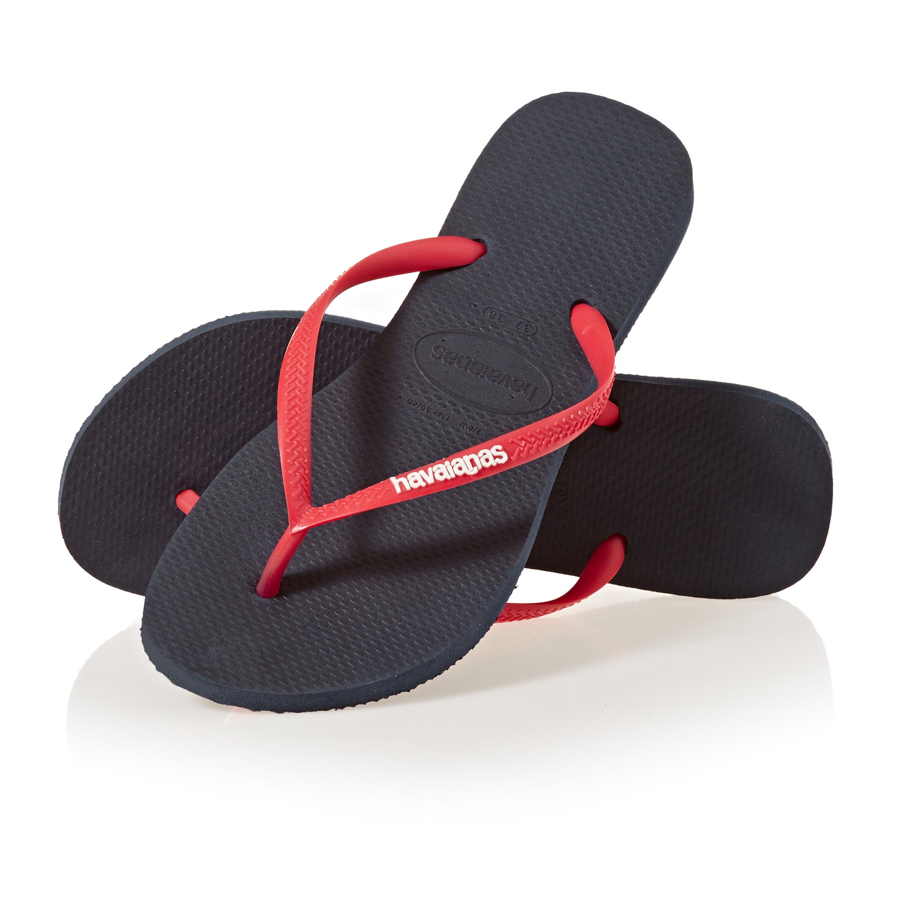 Sandalias Girls Havaianas Kids Slim Logo - Navy Blue/ruby Red