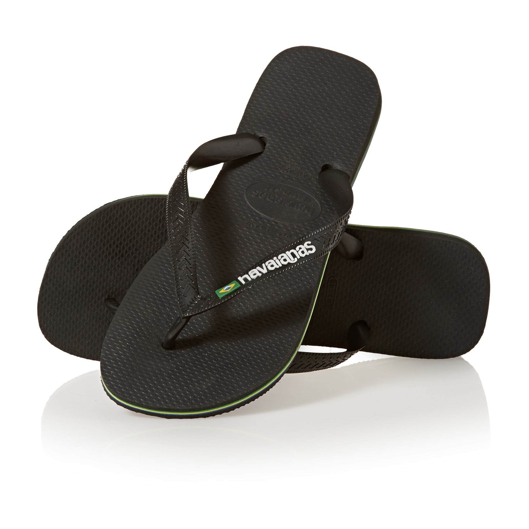 Havaianas Kids Brasil Logo Boys Sandals - Black/black