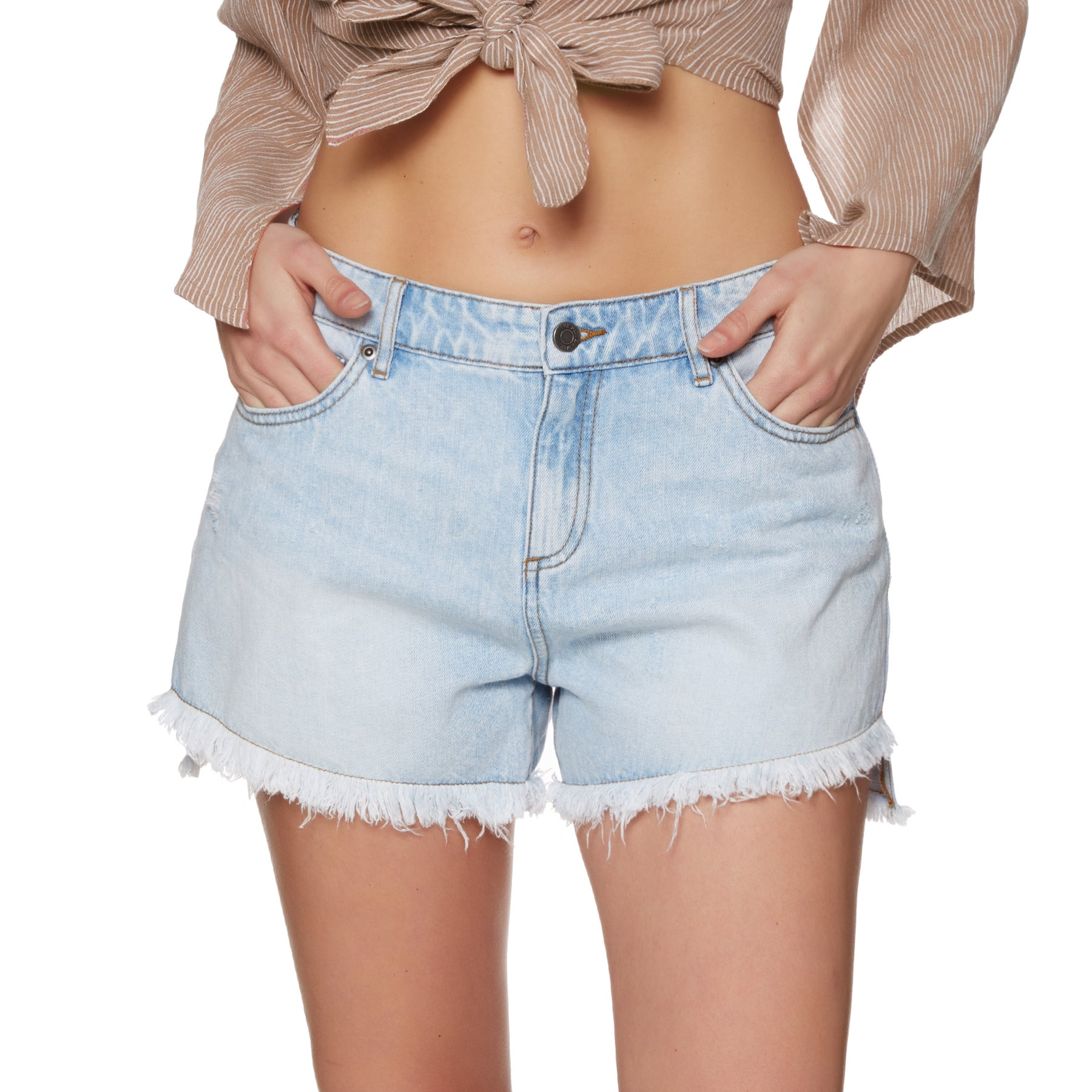 The Hidden Way Lea Boyfriend Womens Shorts - Cement Wash