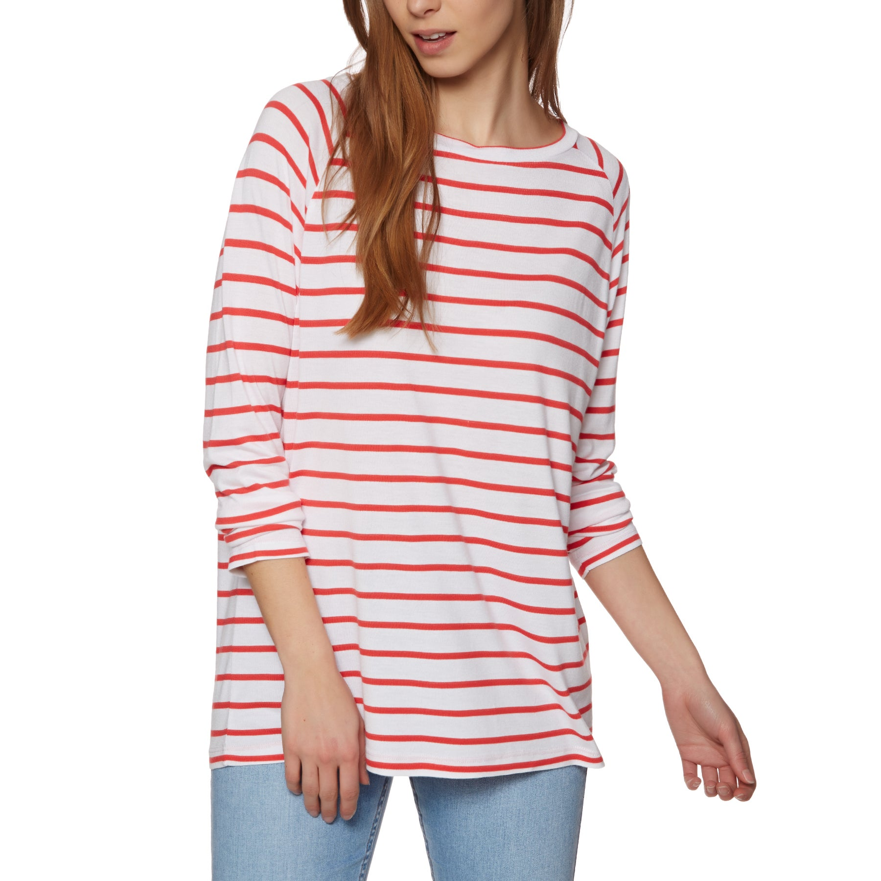 SWELL Sandi Womens Long Sleeve T-Shirt - Coral White Stripe